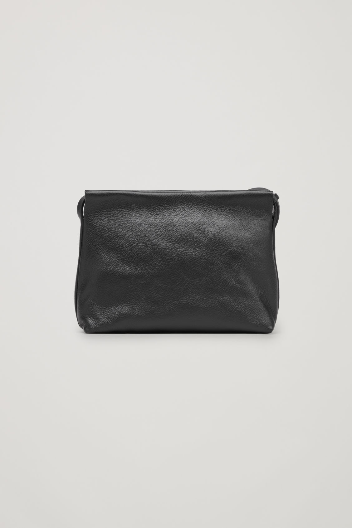 Side image of Cos textured leather shoulder bag  in black