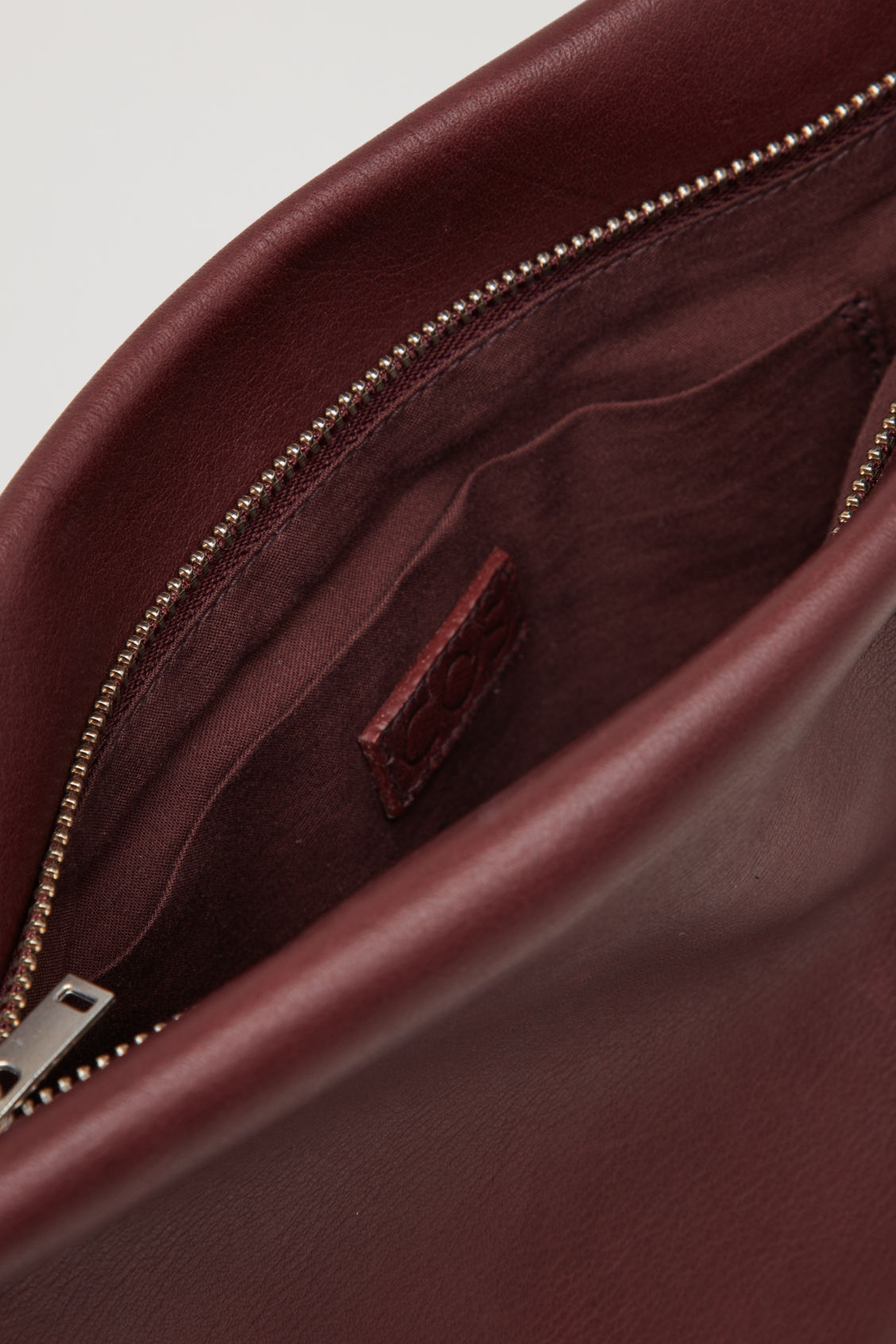 Side image of Cos textured leather shoulder bag  in purple