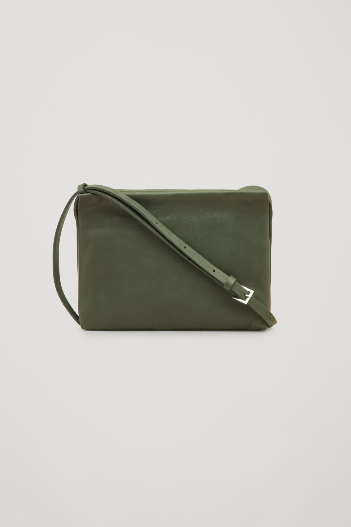 Front image of Cos leather shoulder bag  in green