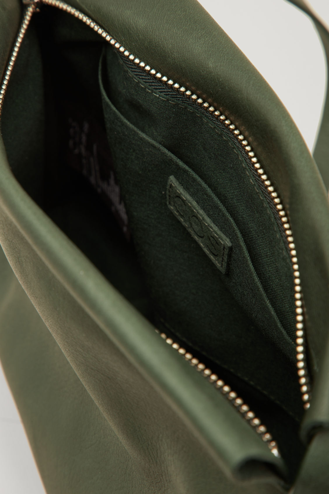 Side image of Cos leather shoulder bag  in green