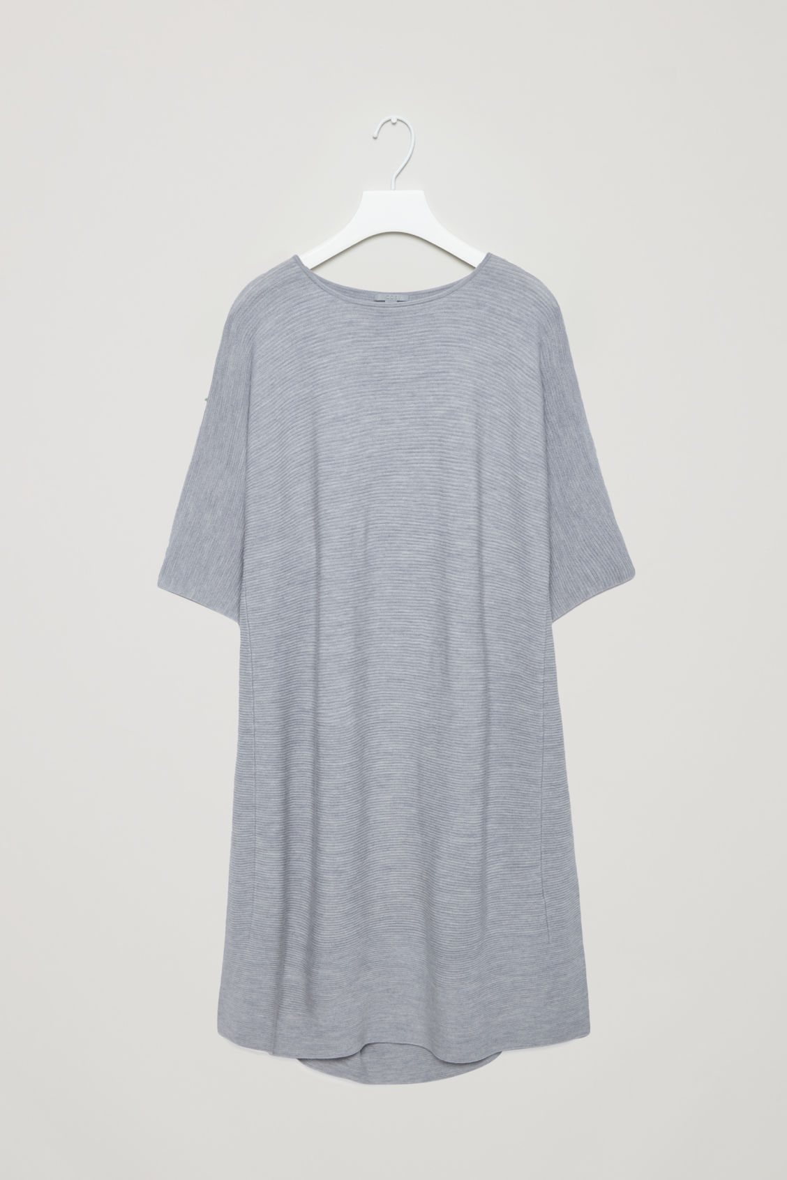 Front image of Cos rectangular knitted dress in grey