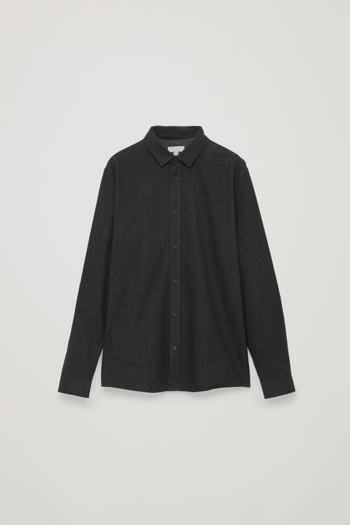 Front image of Cos flannel cotton shirt  in black