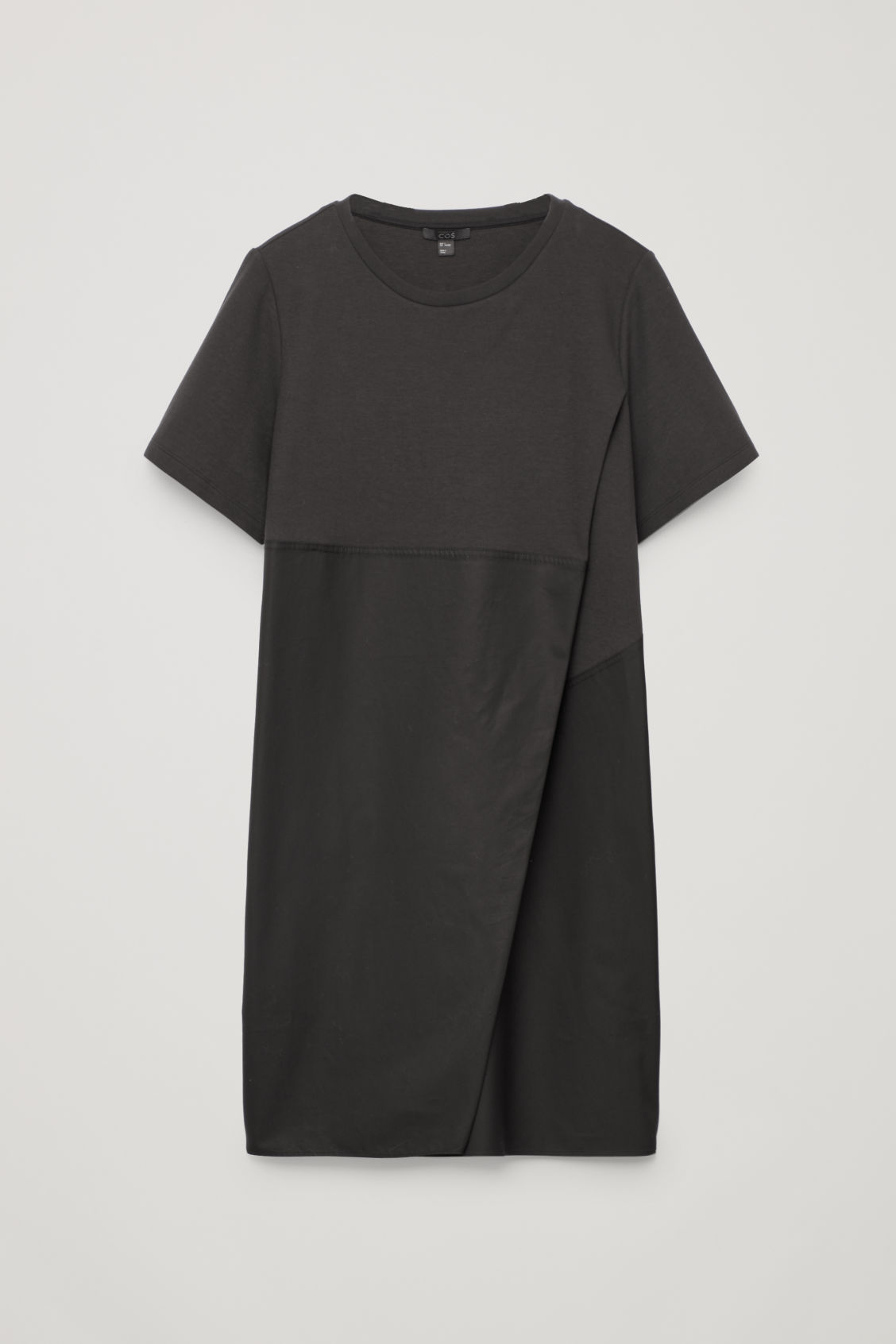 Front image of Cos dress with overlap front in black