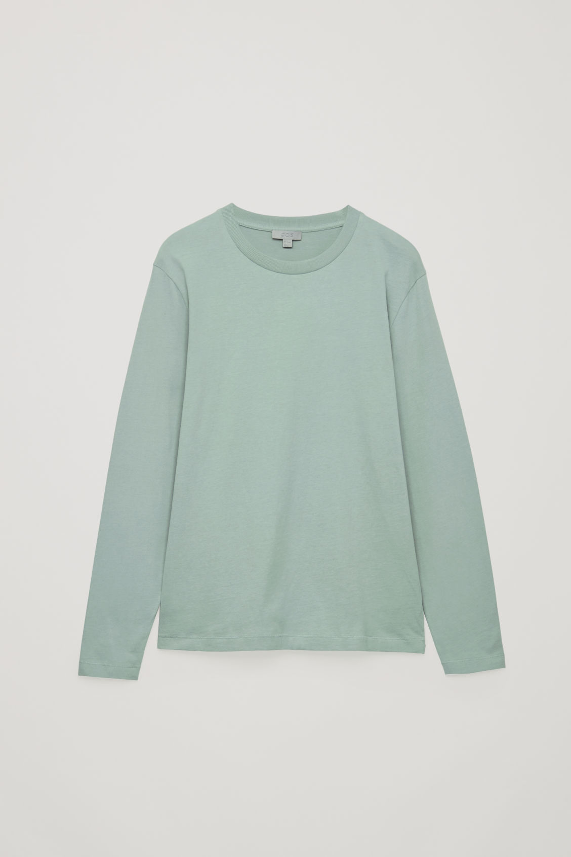 Front image of Cos long-sleeved cotton t-shirt  in green