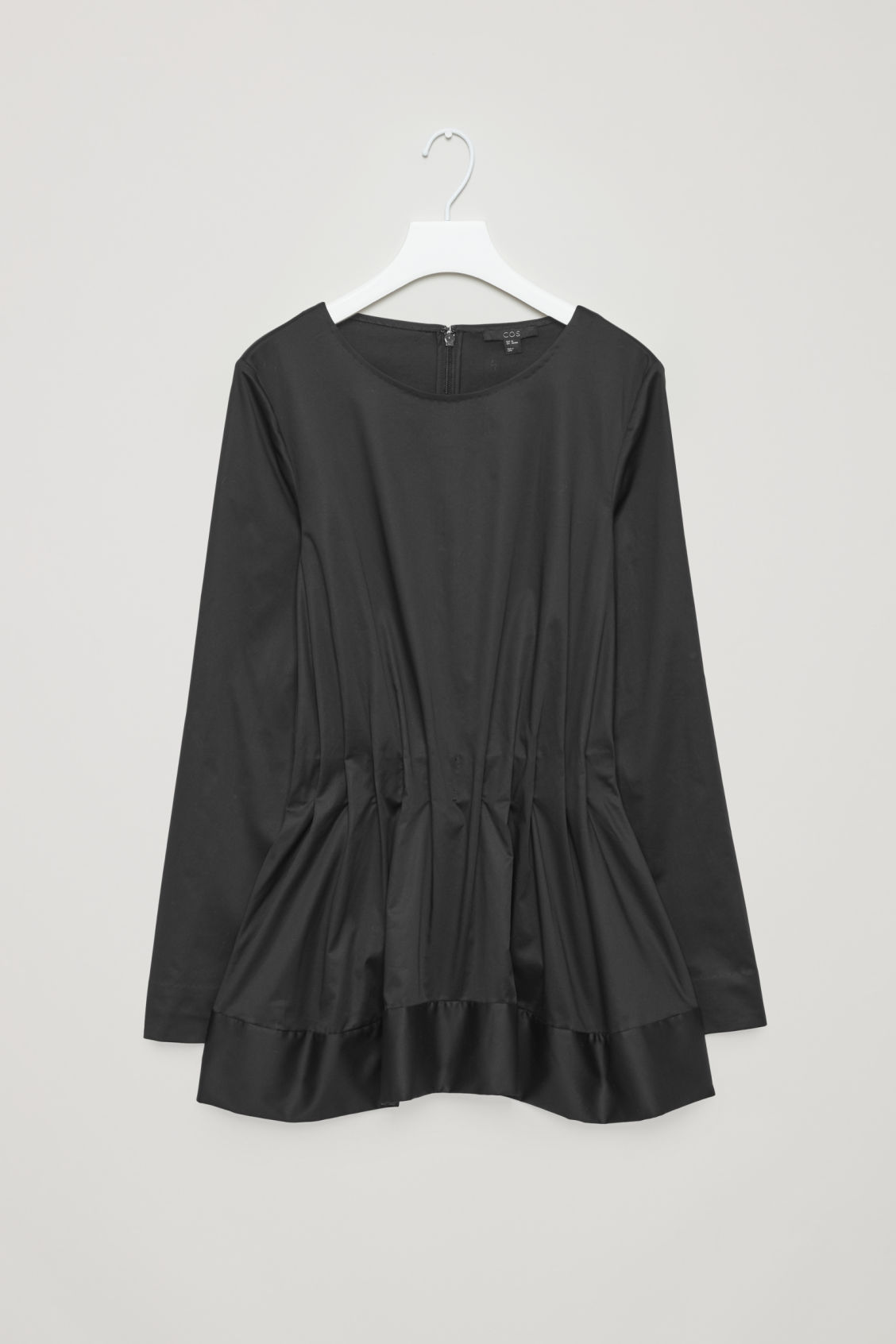 Front image of Cos top with elastic waist in black