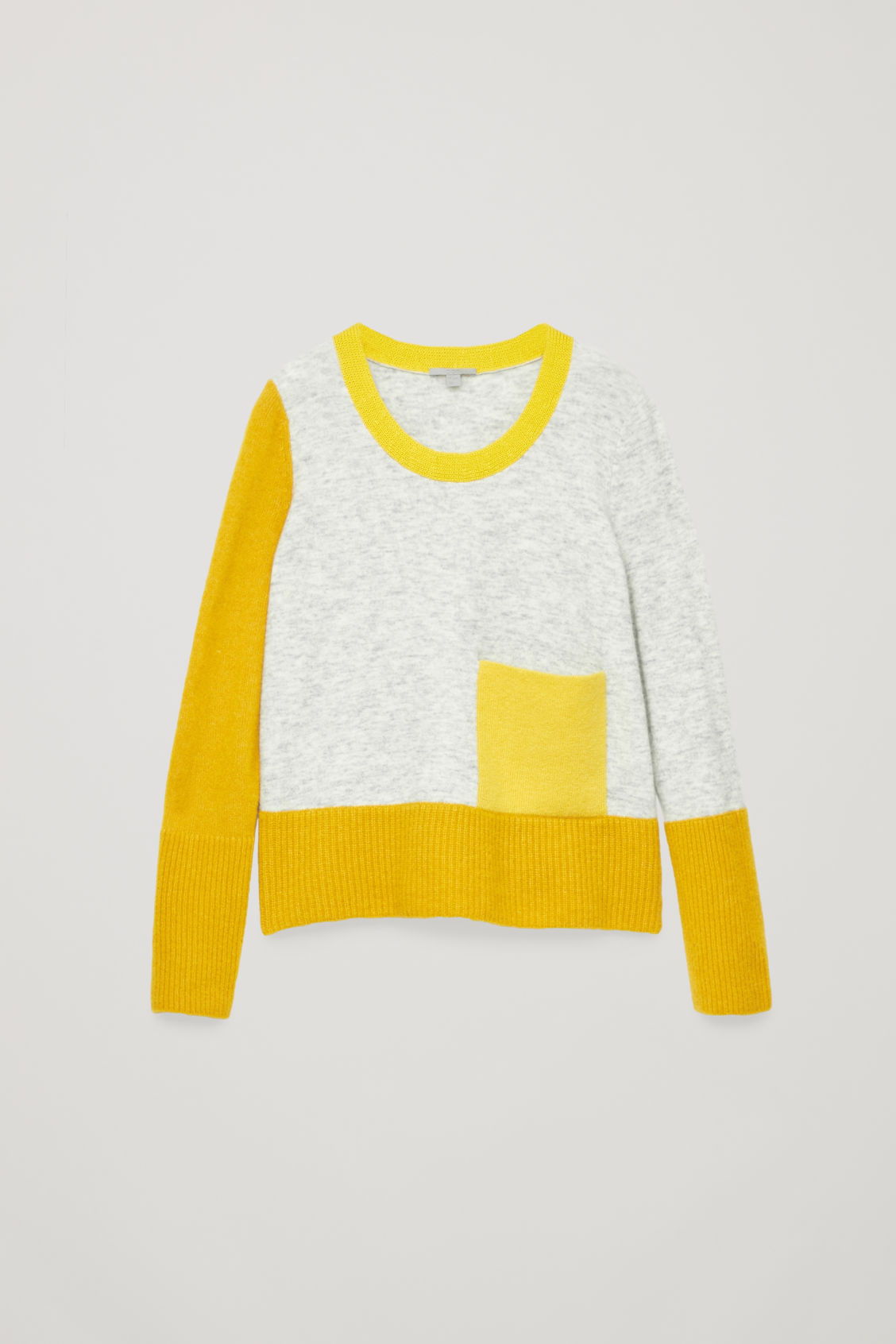Front image of Cos colour-block jumper with pocket in yellow