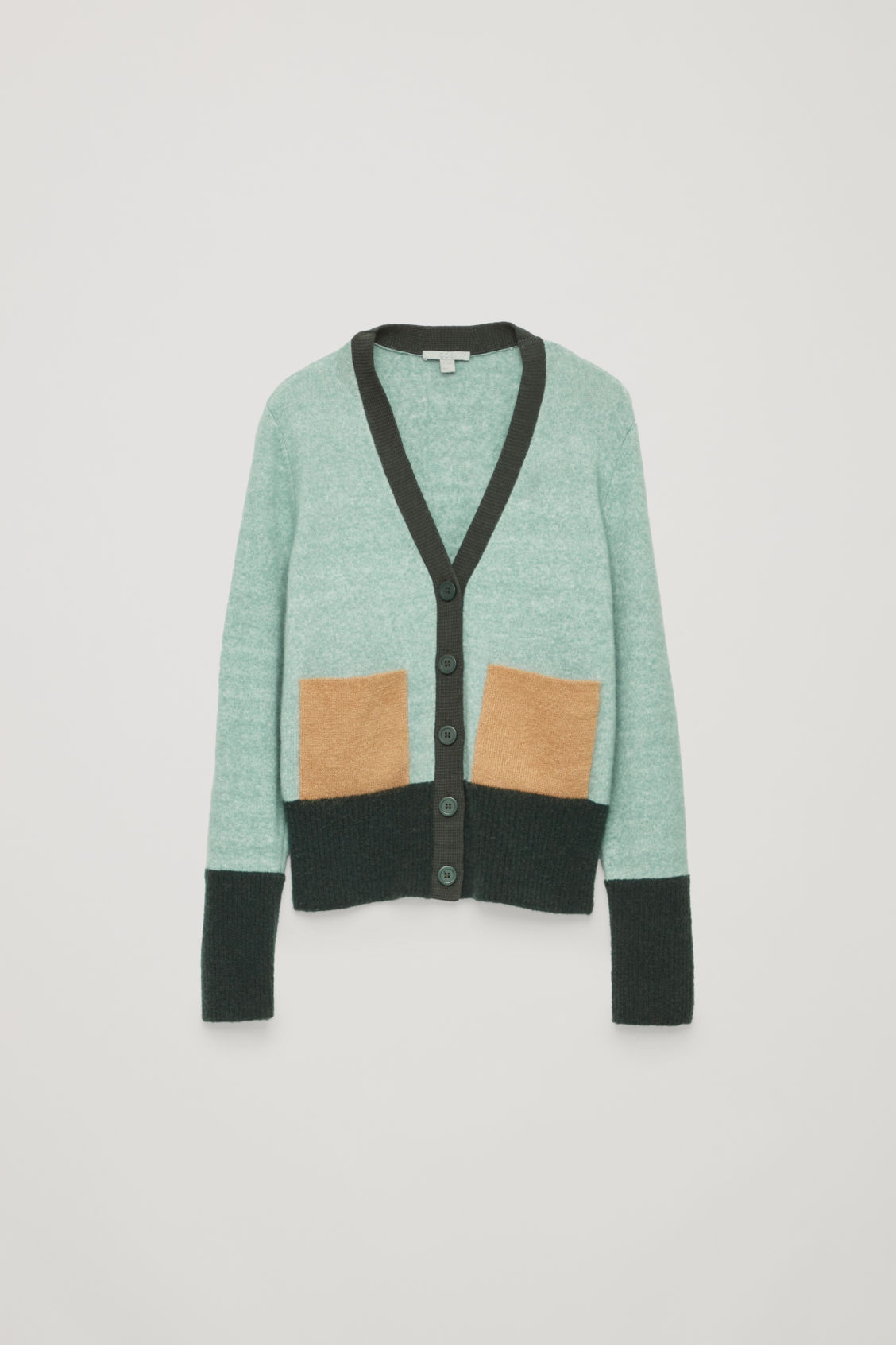 Front image of Cos colour-block cardigan with pockets in green