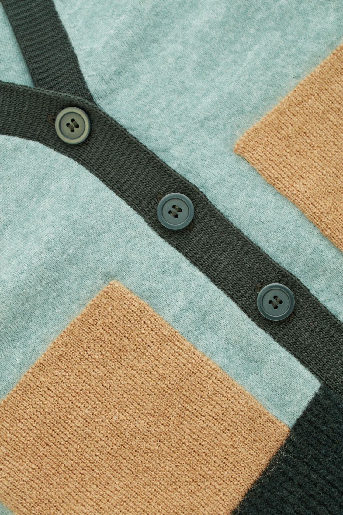 Side image of Cos colour-block cardigan with pockets in green