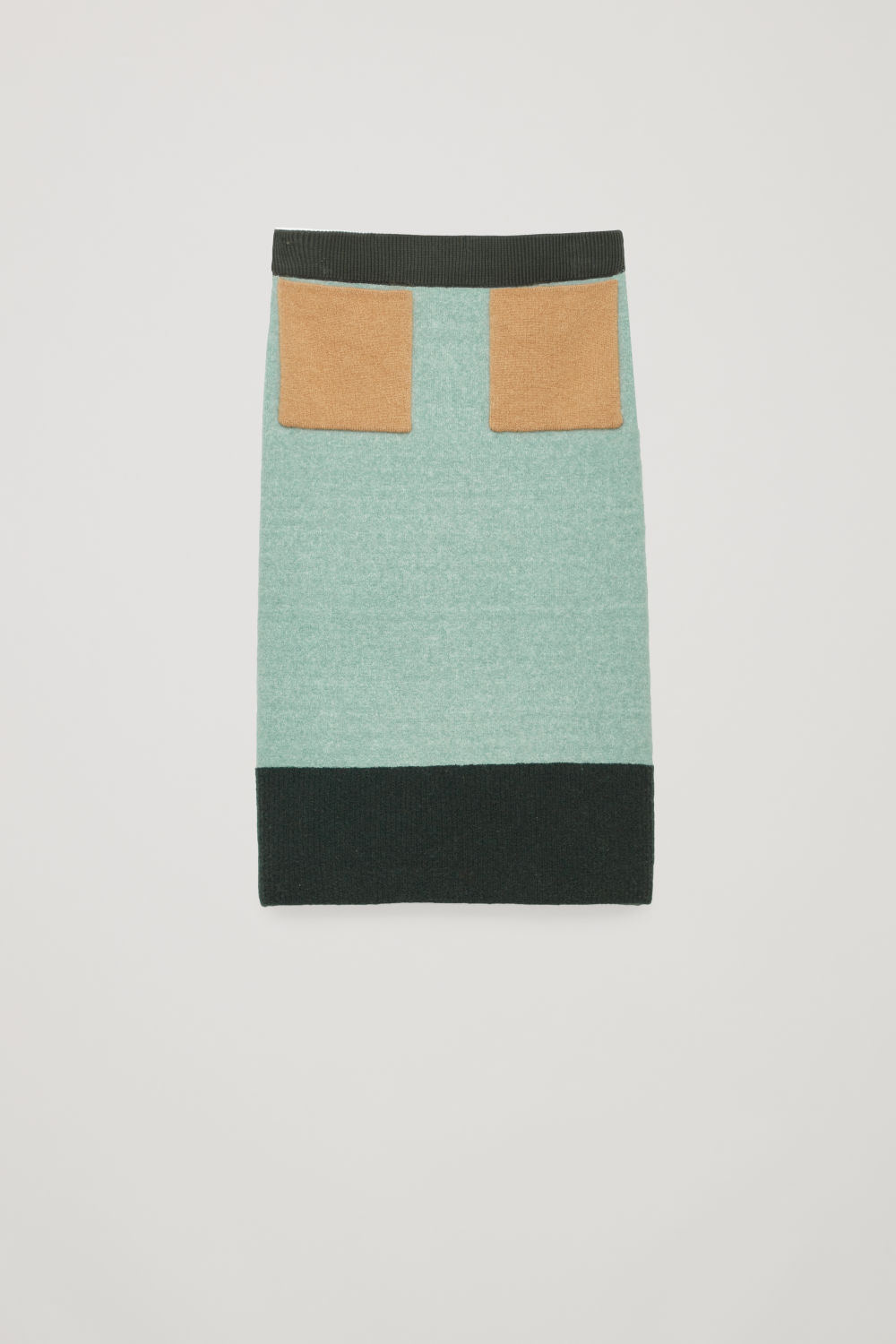 Front image of Cos colour-block skirt with mohair pockets  in green