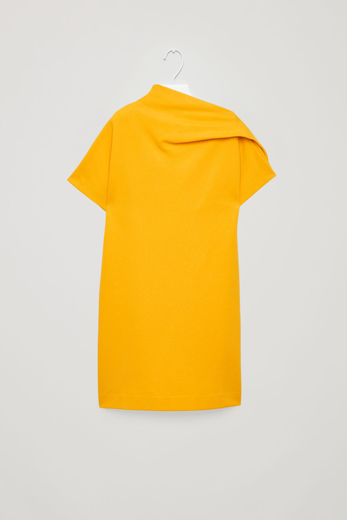 Front image of Cos jersey dress with drape  in yellow