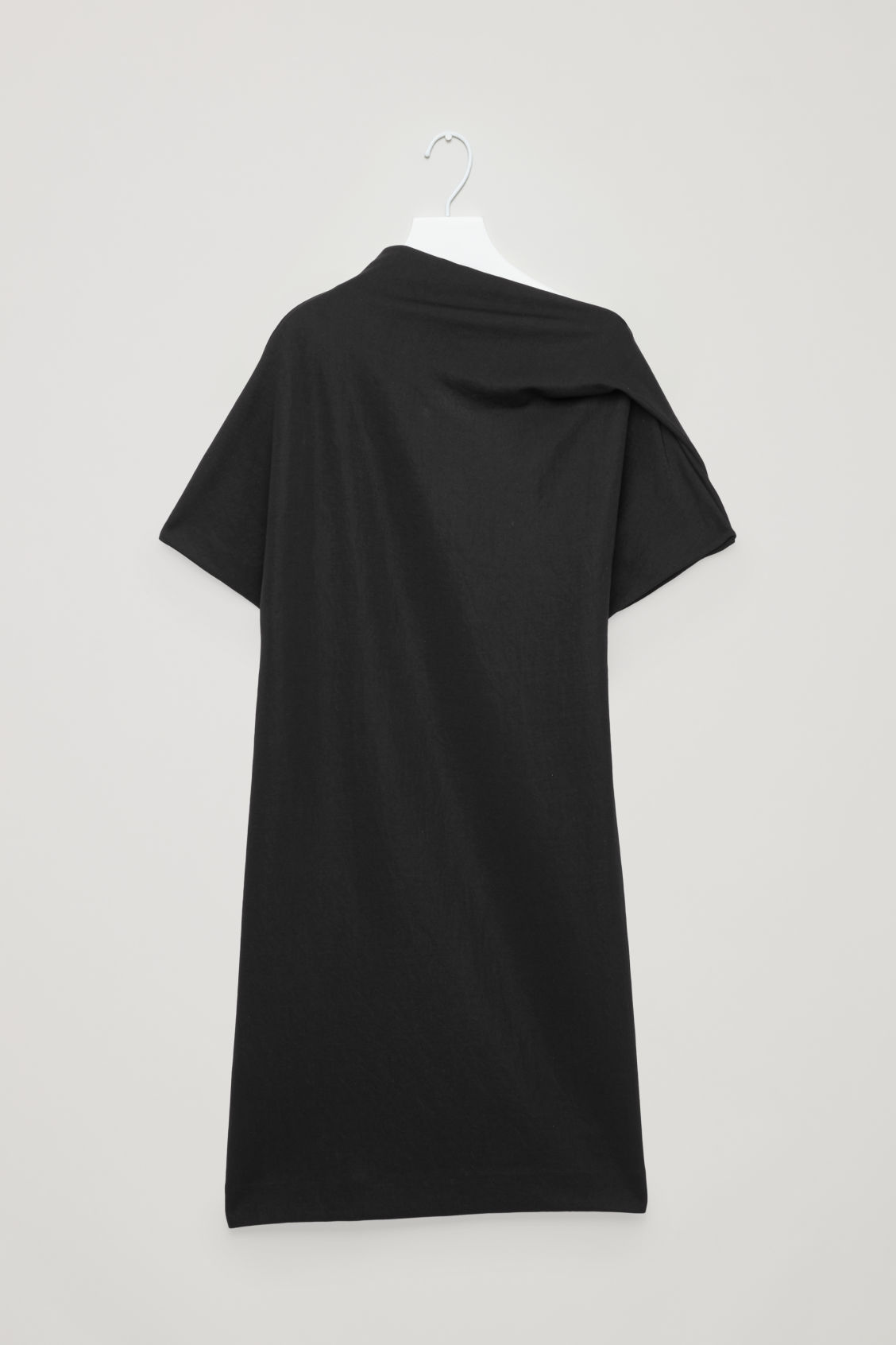 Front image of Cos draped-neck jersey dress in black