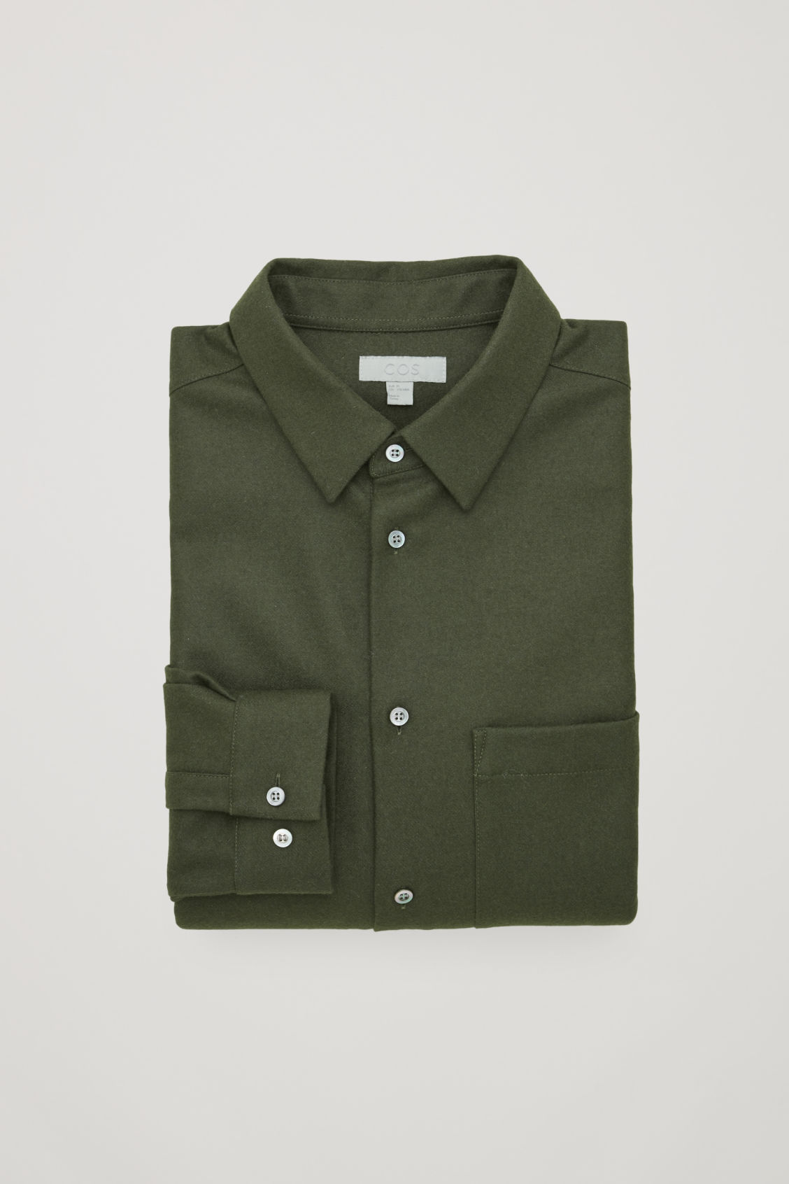 Side image of Cos felt wool shirt  in green
