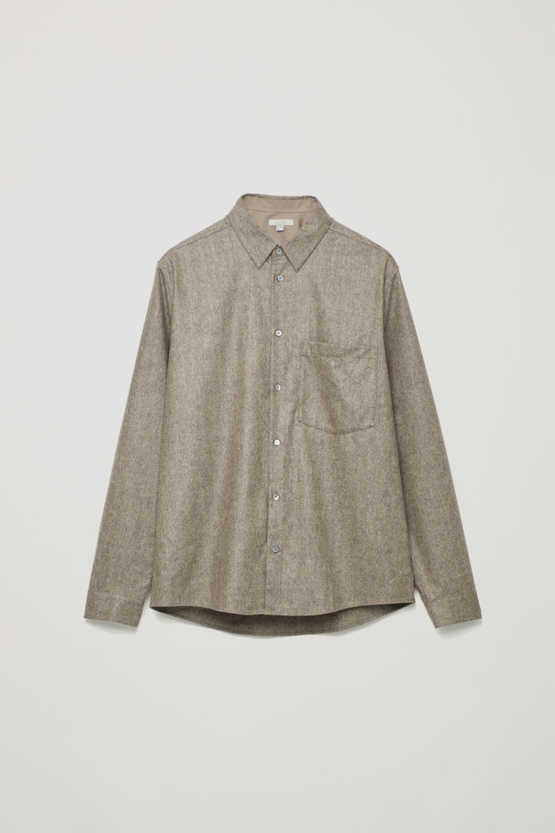Front image of Cos felt wool shirt  in brown