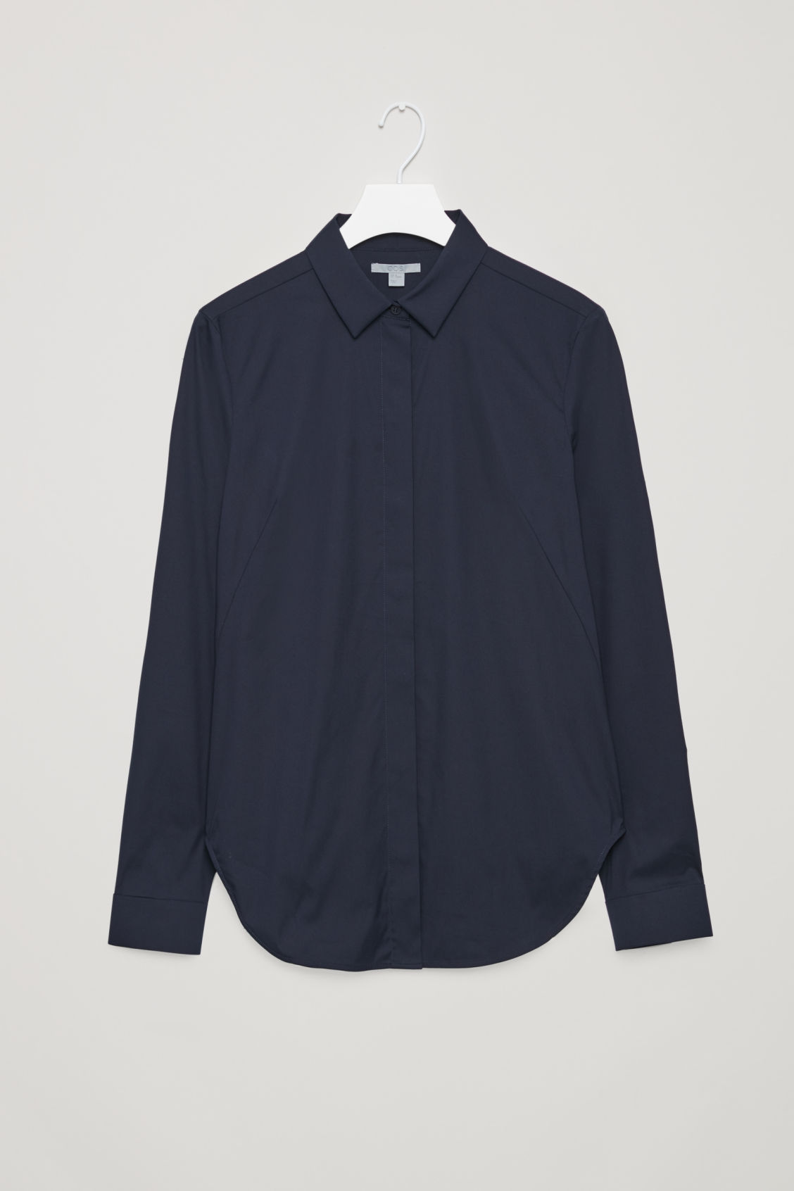 Front image of Cos slim-fit cotton shirt  in blue