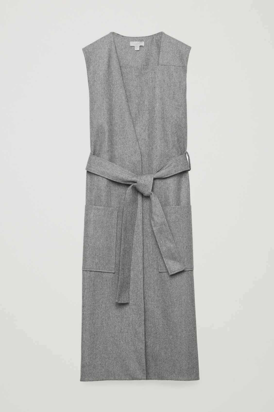 Front image of Cos sleeveless wrap dress with belt in grey