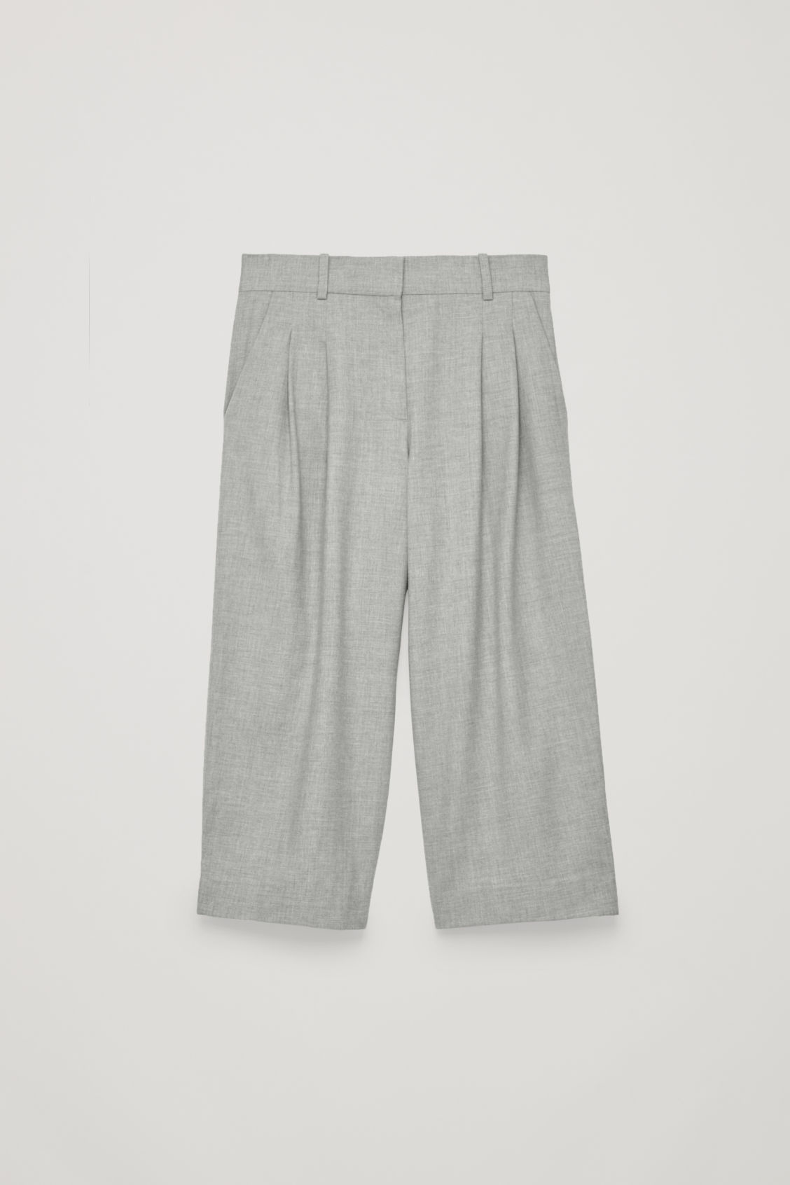 Front image of Cos wide-leg flannel trousers  in grey