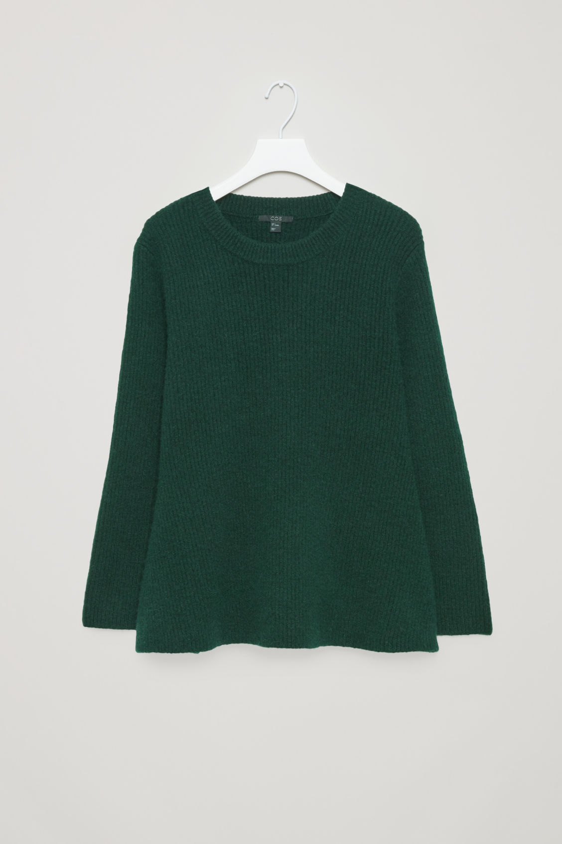 Front image of Cos waisted peplum jumper  in green