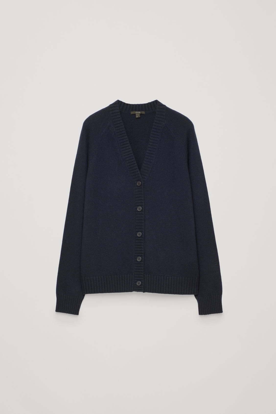 Front image of Cos relaxed cashmere cardigan  in blue