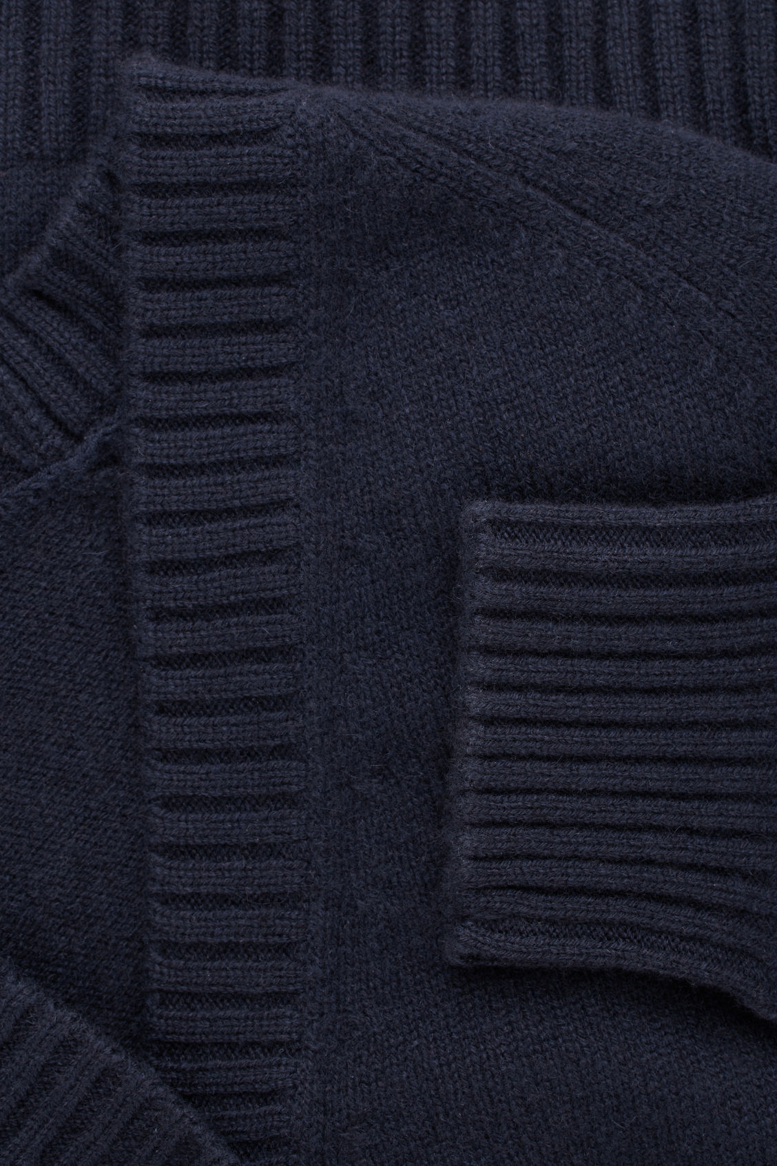 Side image of Cos relaxed cashmere cardigan  in blue
