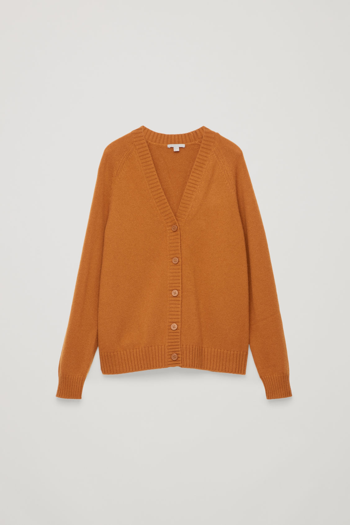 Front image of Cos relaxed cashmere cardigan  in orange