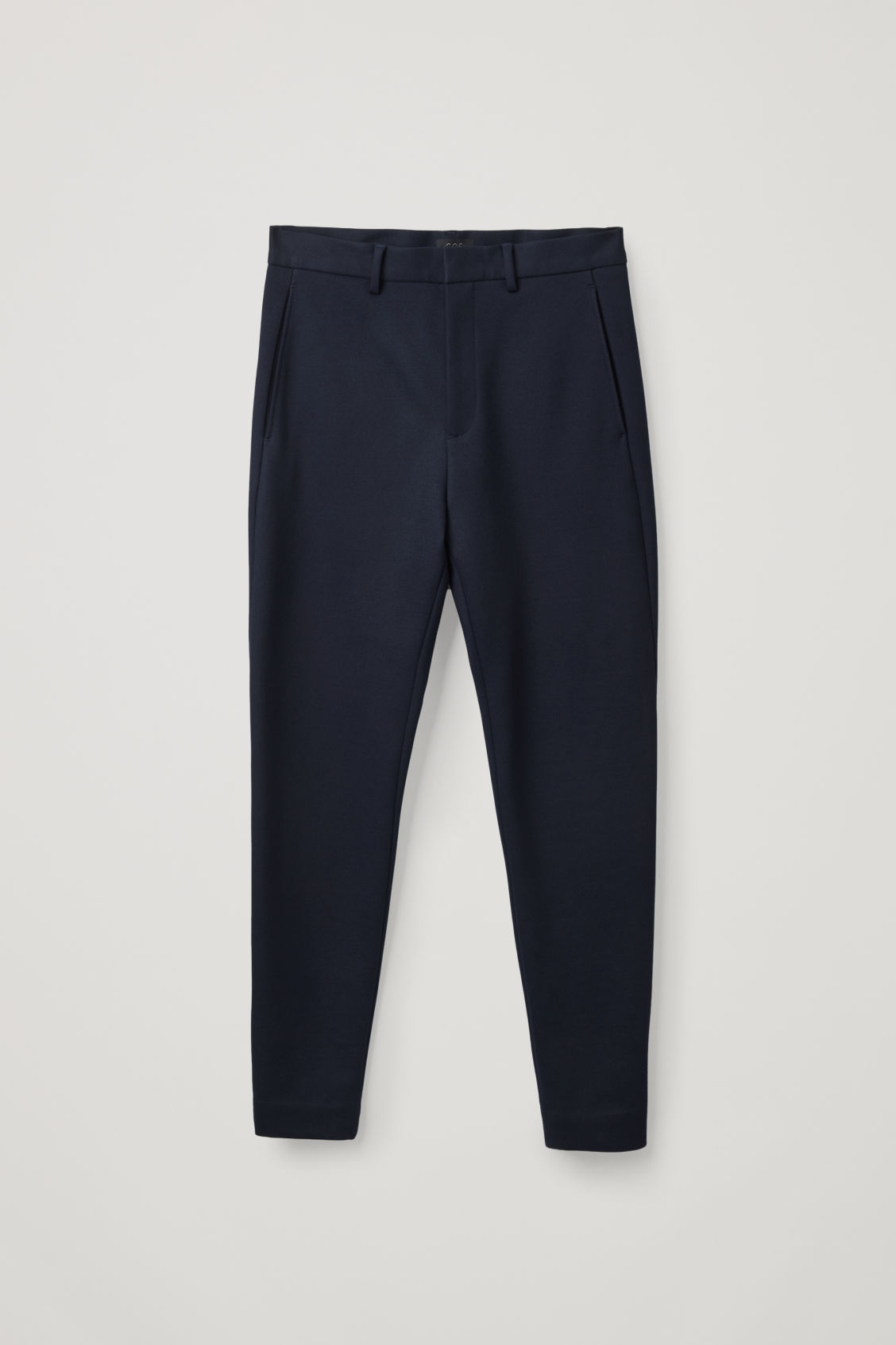 Front image of Cos zip-cuff jersey trousers in blue