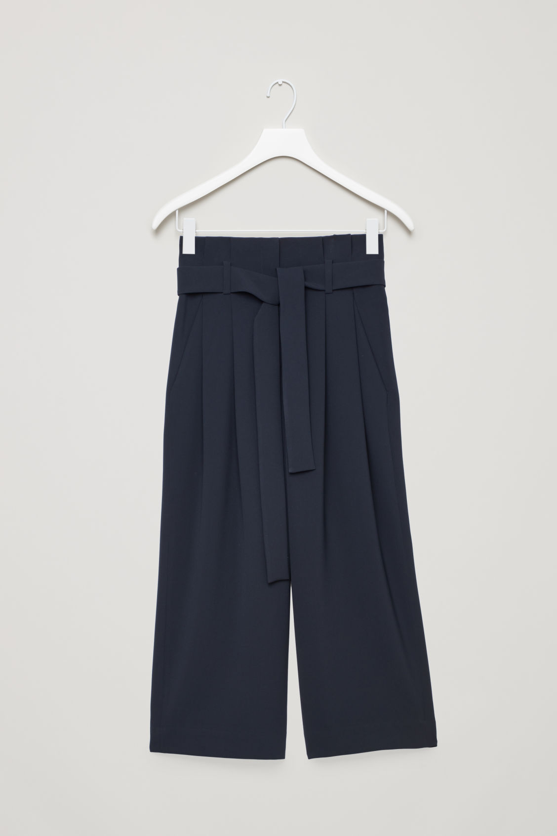 Front image of Cos belted high-waist trousers in blue