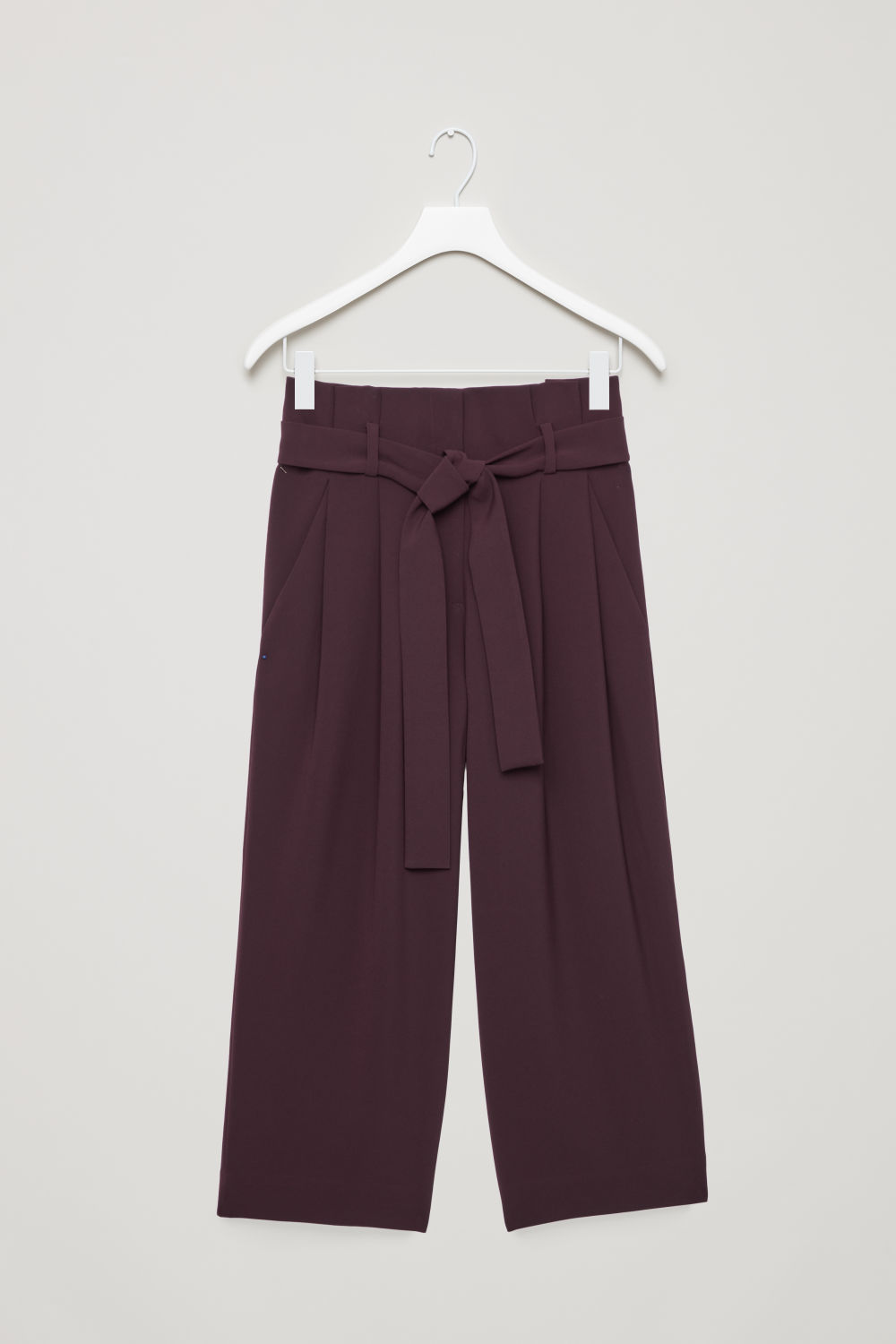 Front image of Cos belted high-waist trousers in purple