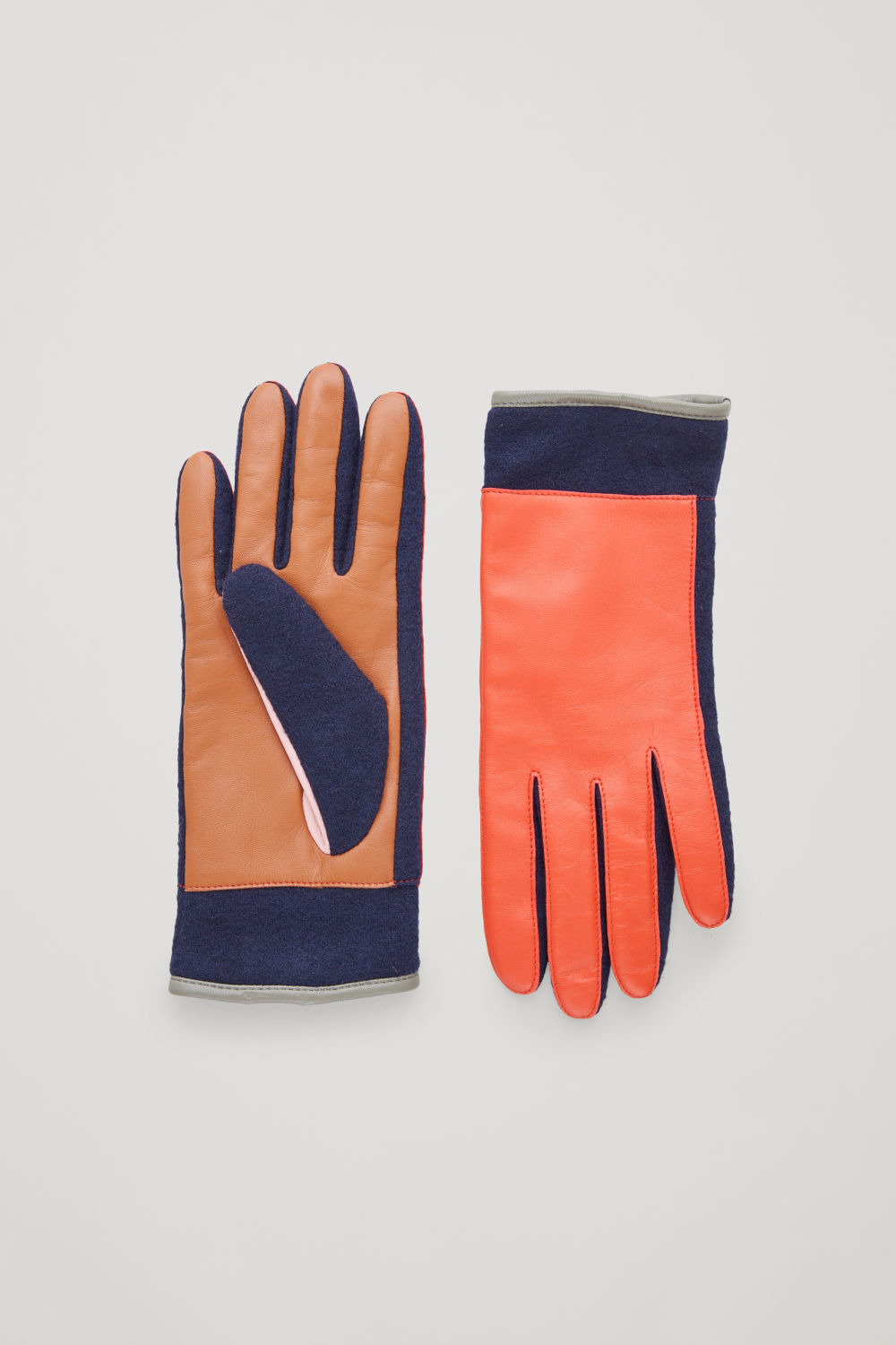 COLOUR-BLOCK LEATHER GLOVES