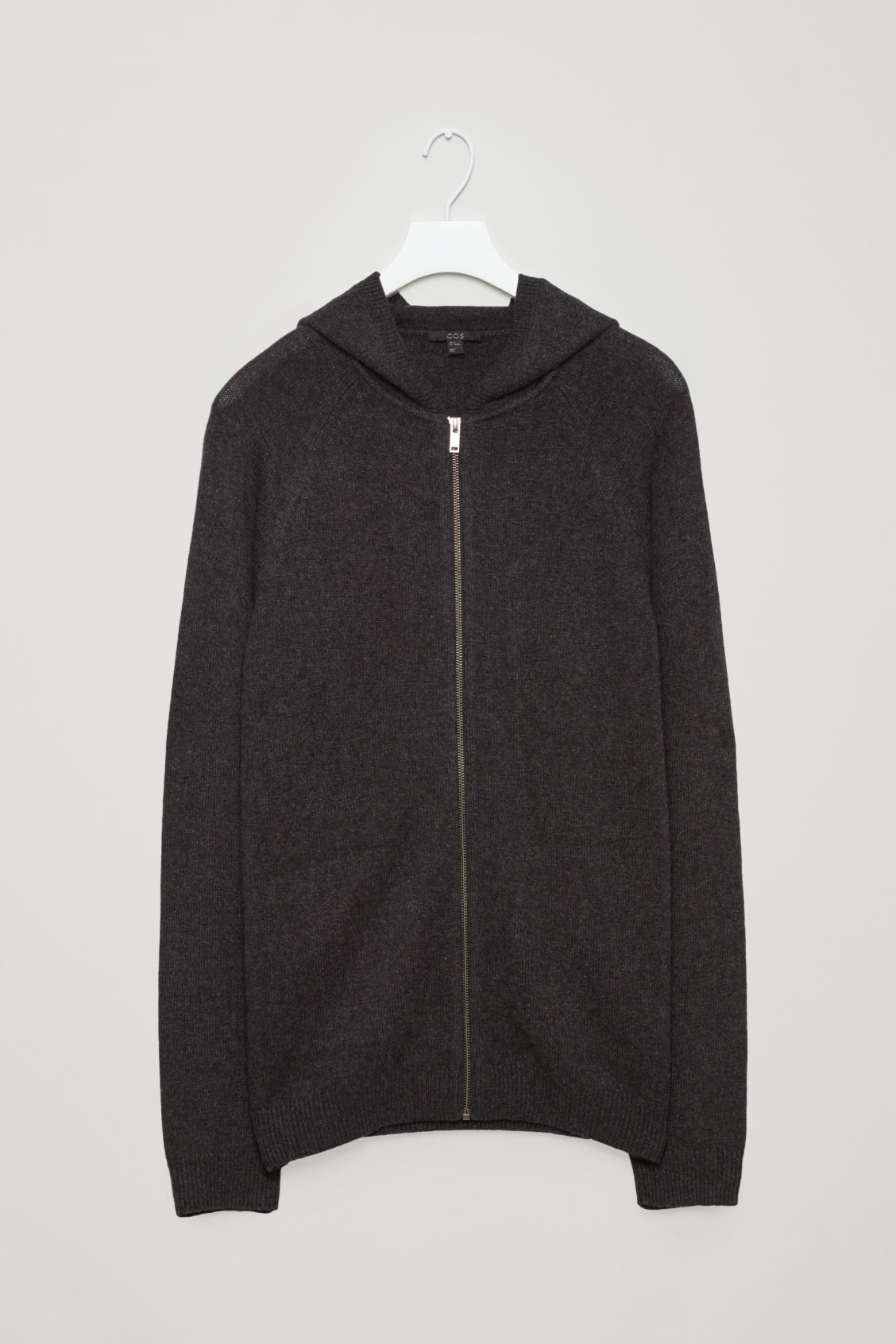 Front image of Cos relaxed cashmere hoodie  in grey