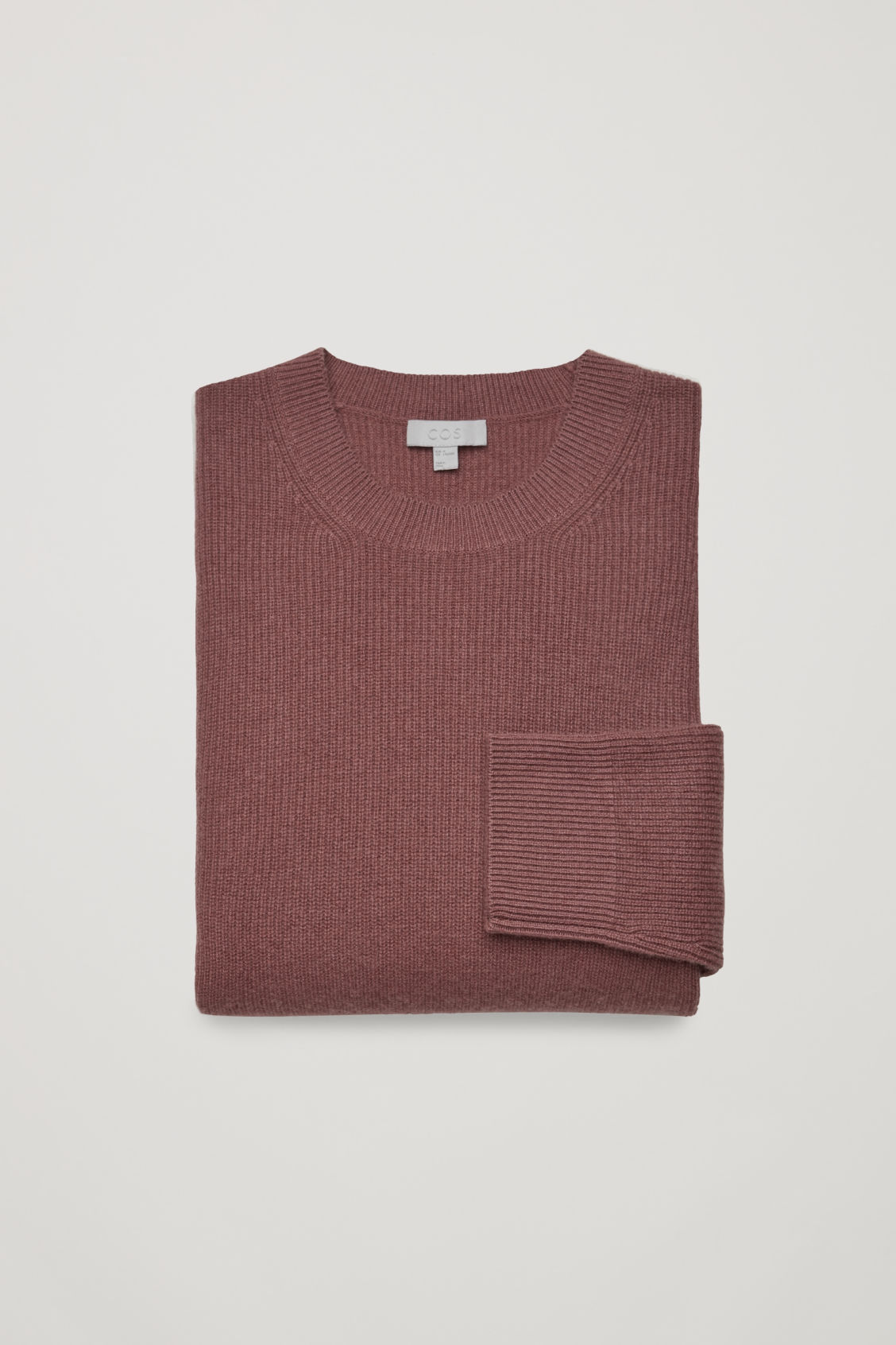 Side image of Cos cardigan-stitch cashmere jumper in beige