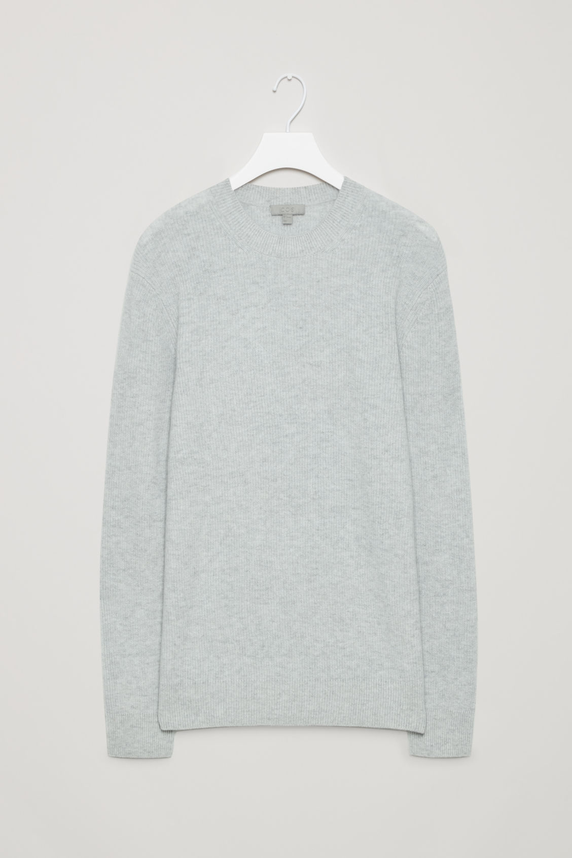 Front image of Cos cardigan-stitch cashmere jumper in grey