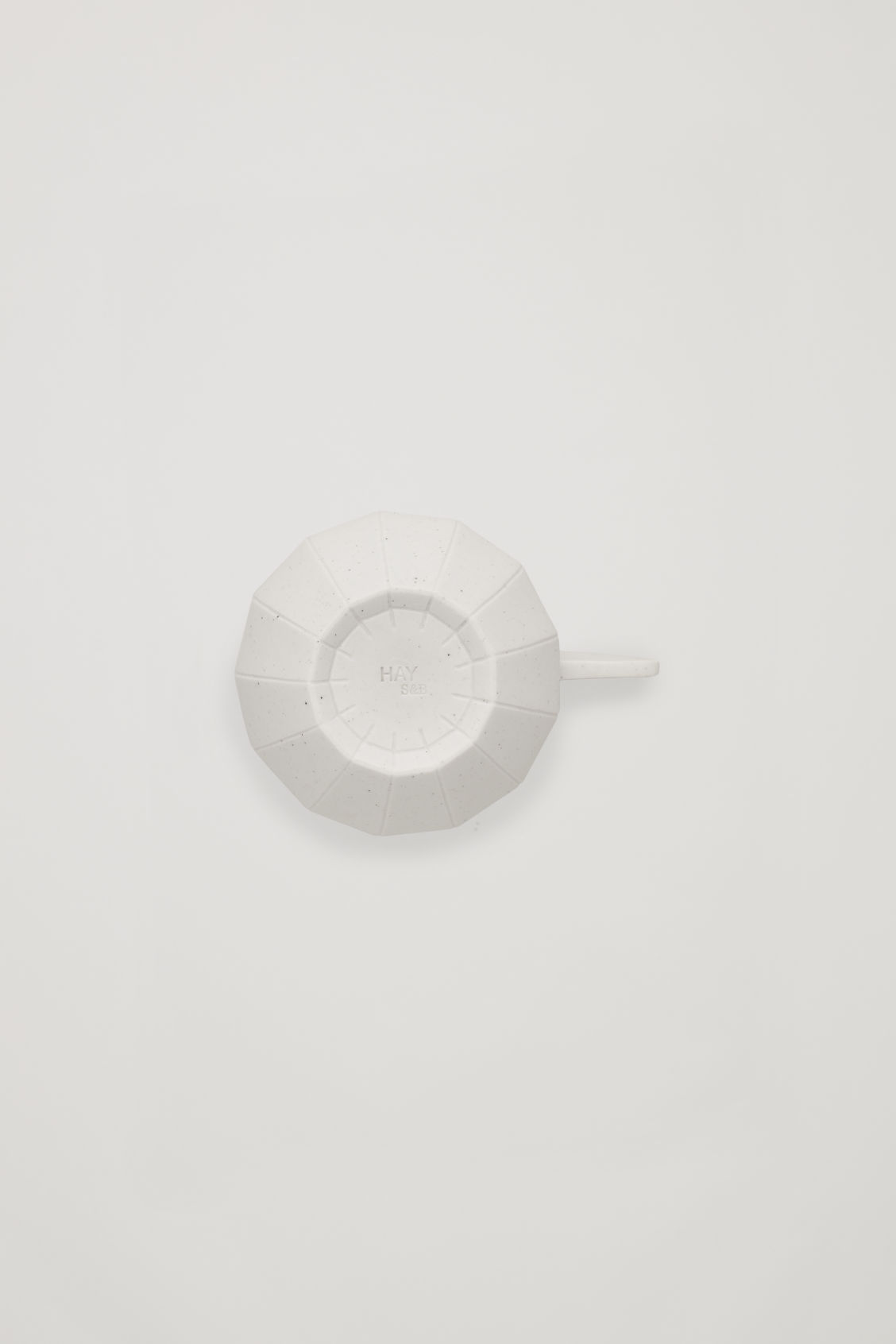 Side image of Cos hay paper coffee cup in white