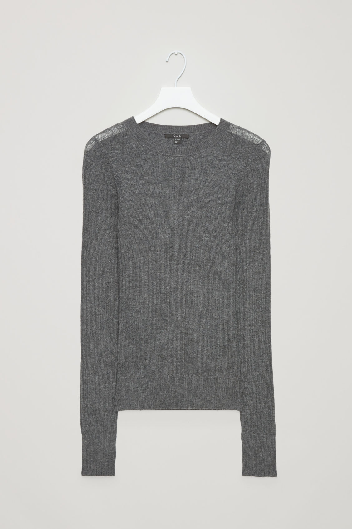 Front image of Cos fine ribbed cashmere top in grey