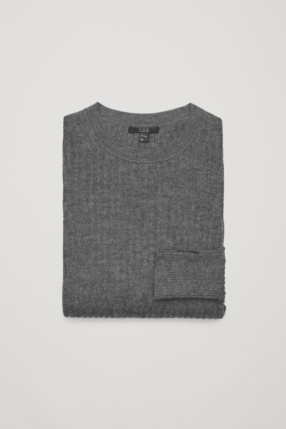 Side image of Cos fine ribbed cashmere top in grey