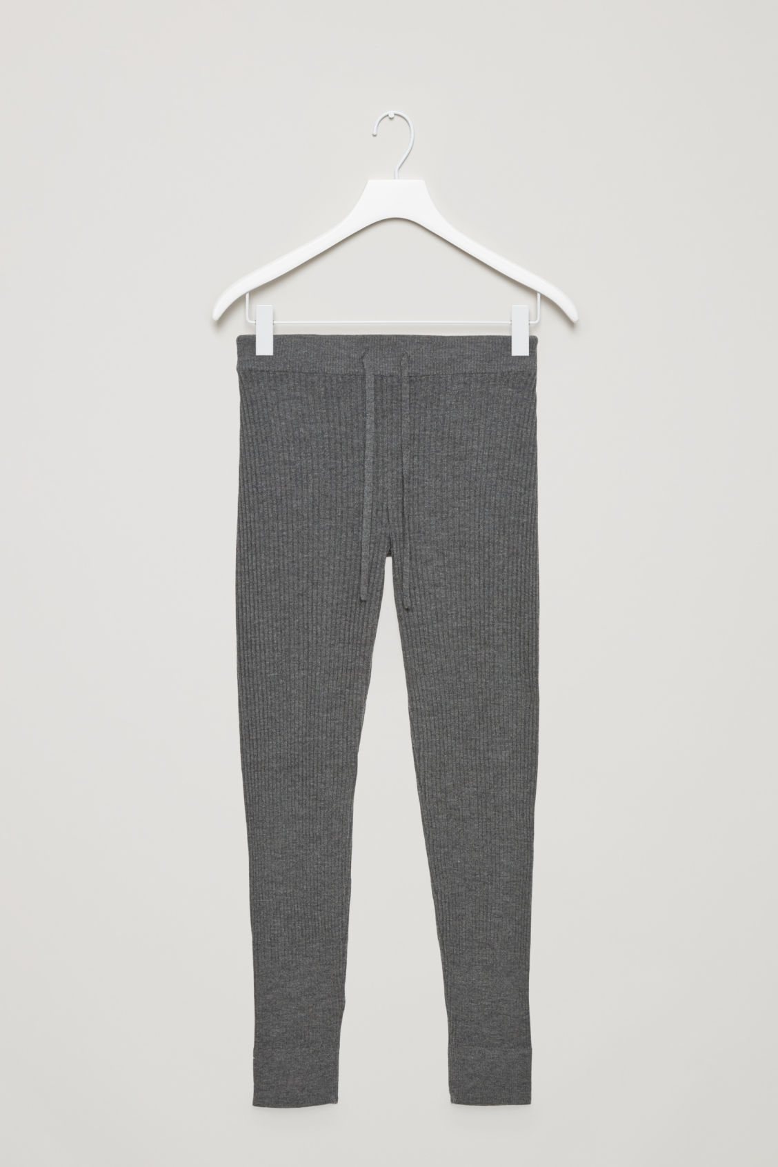 Front image of Cos ribbed cashmere trousers  in grey