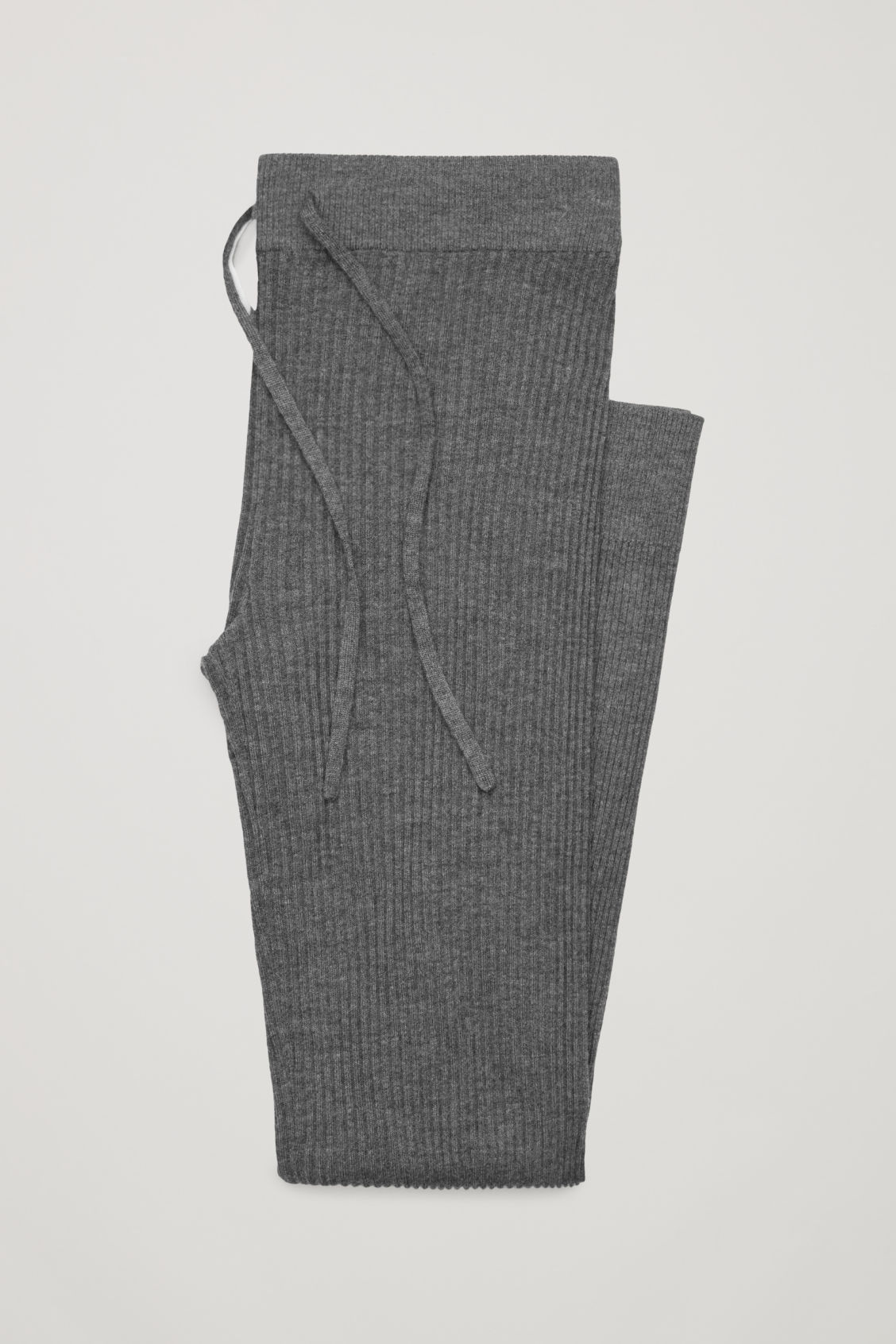 Side image of Cos ribbed cashmere trousers  in grey