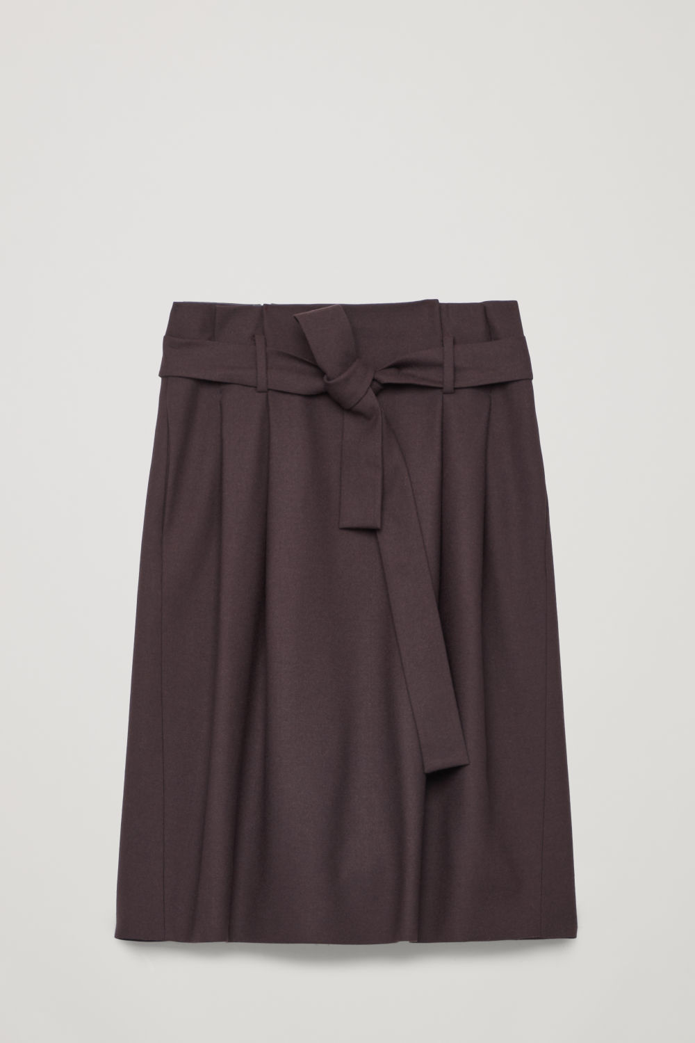 Front image of Cos wool skirt with paperbag waist  in purple