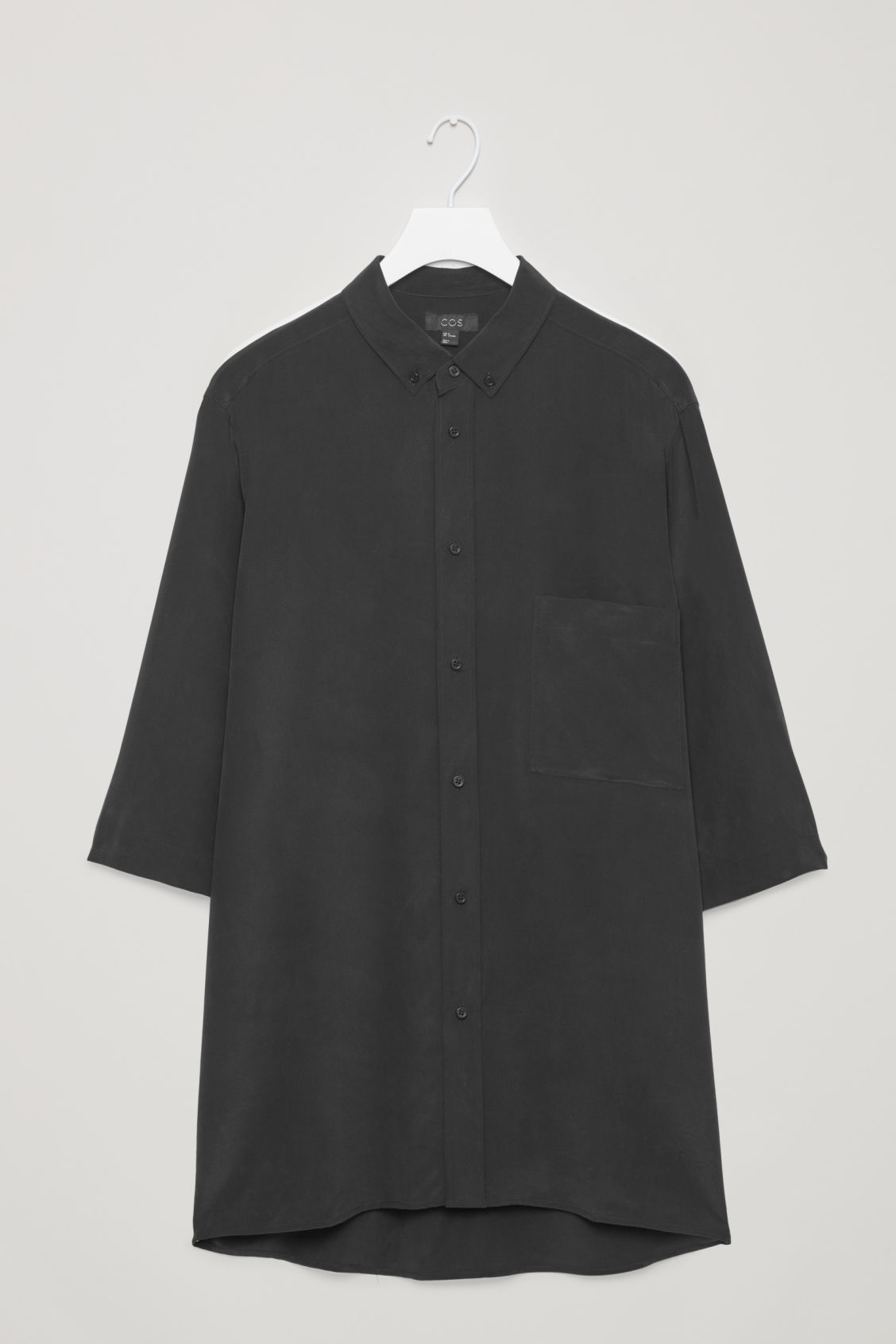 Front image of Cos silk shirt with ¾ sleeves in black