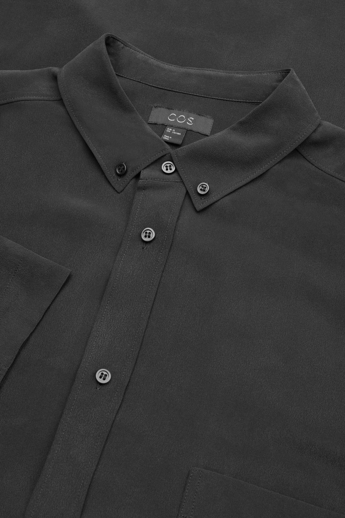 Side image of Cos silk shirt with ¾ sleeves in black