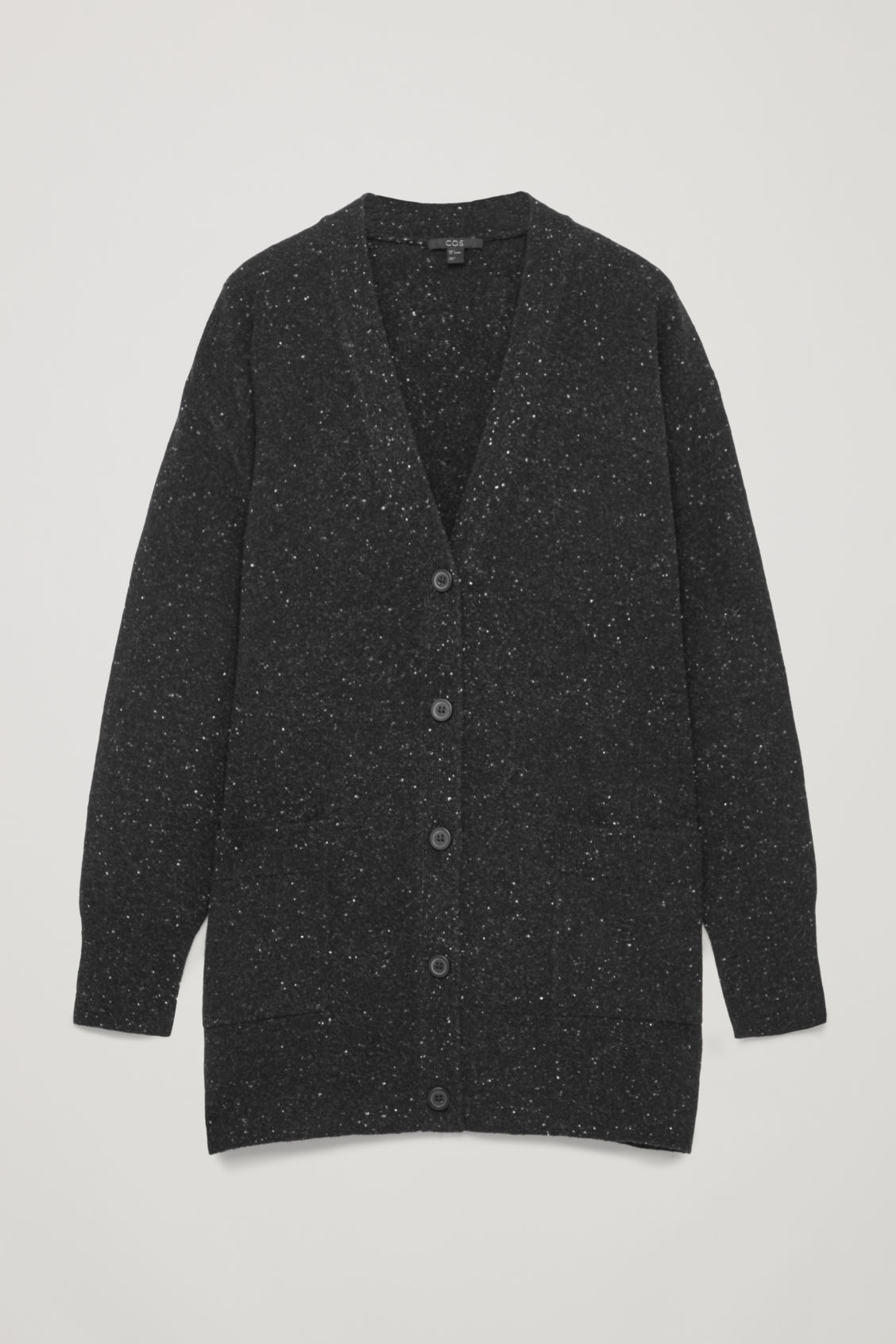 Front image of Cos speckled oversized wool cardigan in black