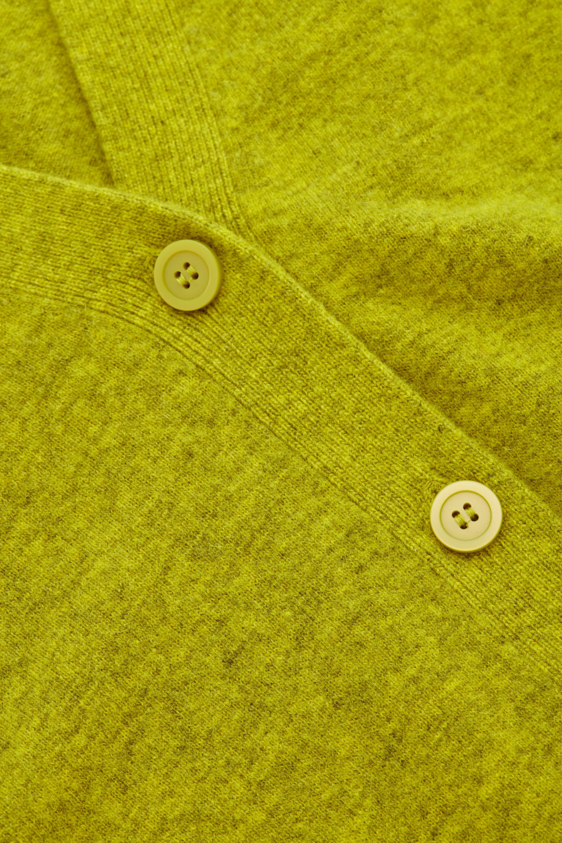 Side image of Cos speckled oversized wool cardigan in yellow