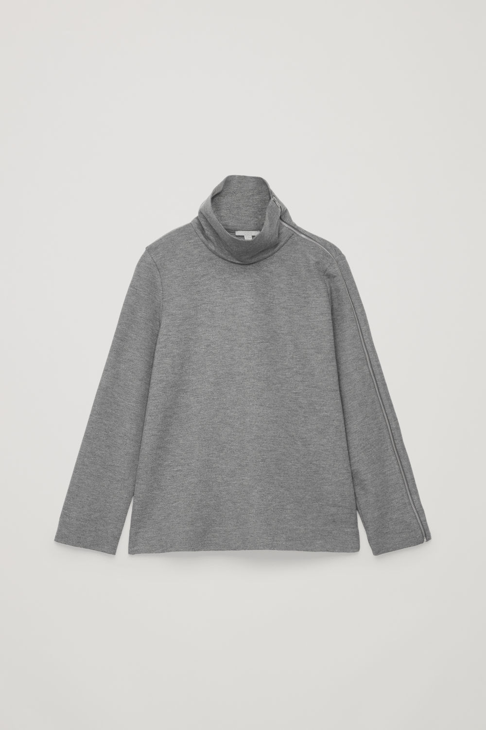Front image of Cos jersey top with metal zip in grey