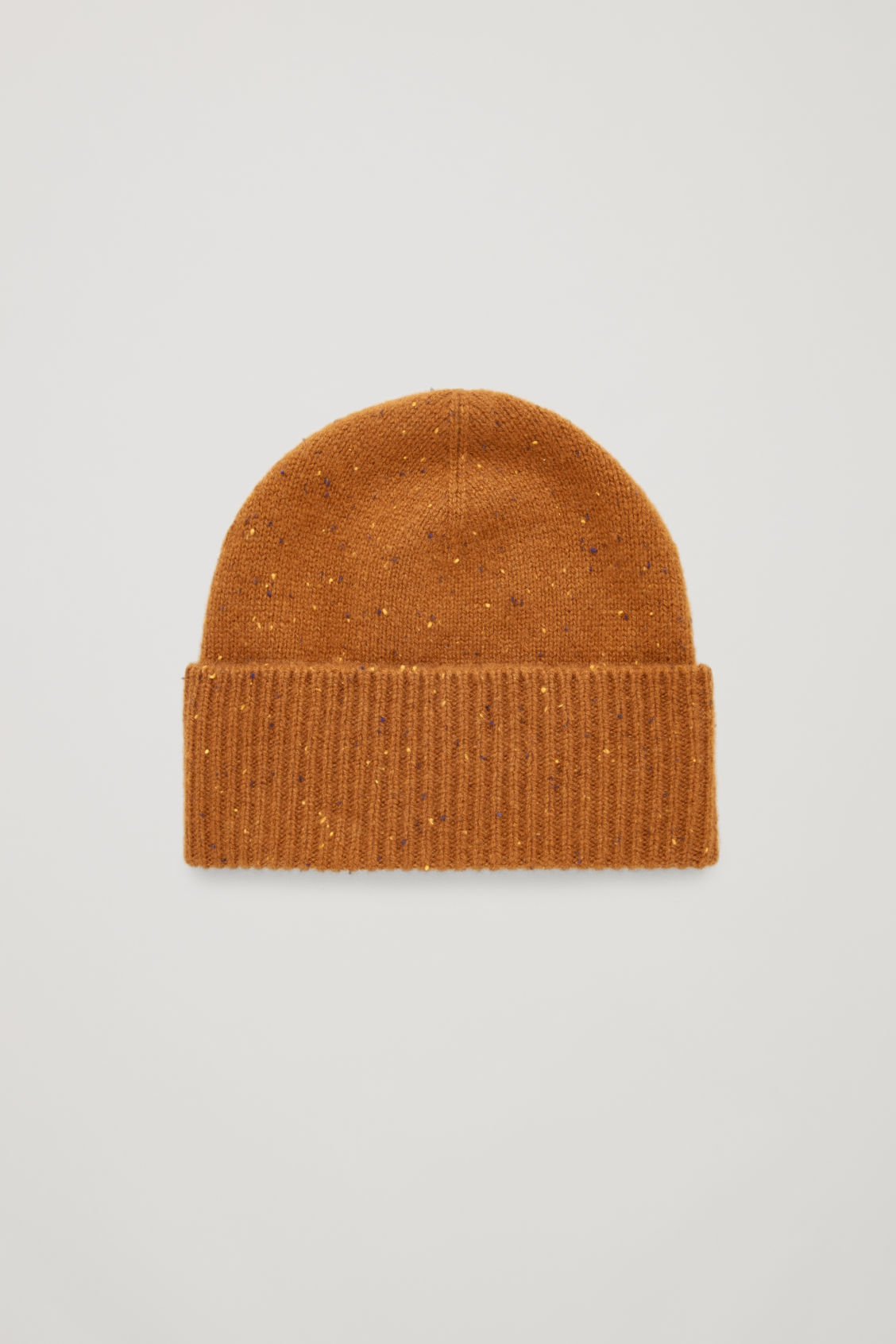 Front image of Cos speckled cashmere hat  in orange