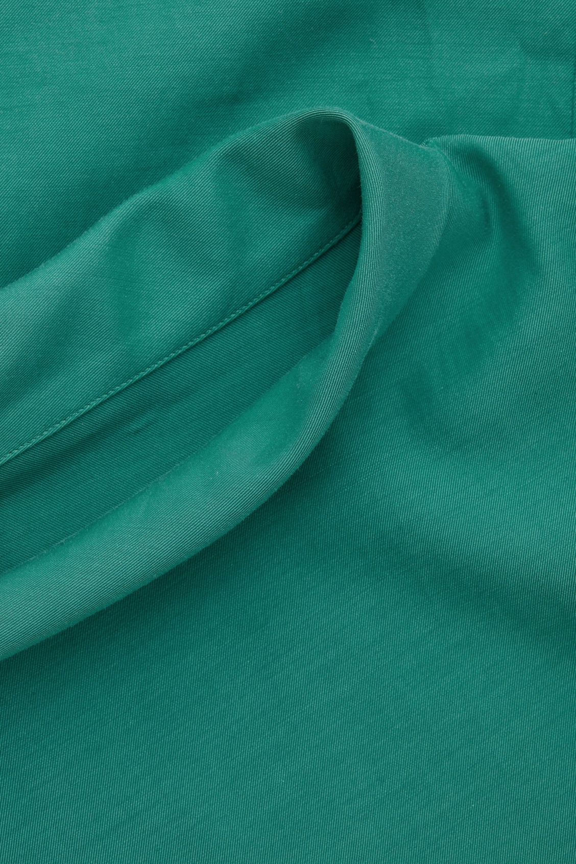 Side image of Cos folded-collar draped dress in green