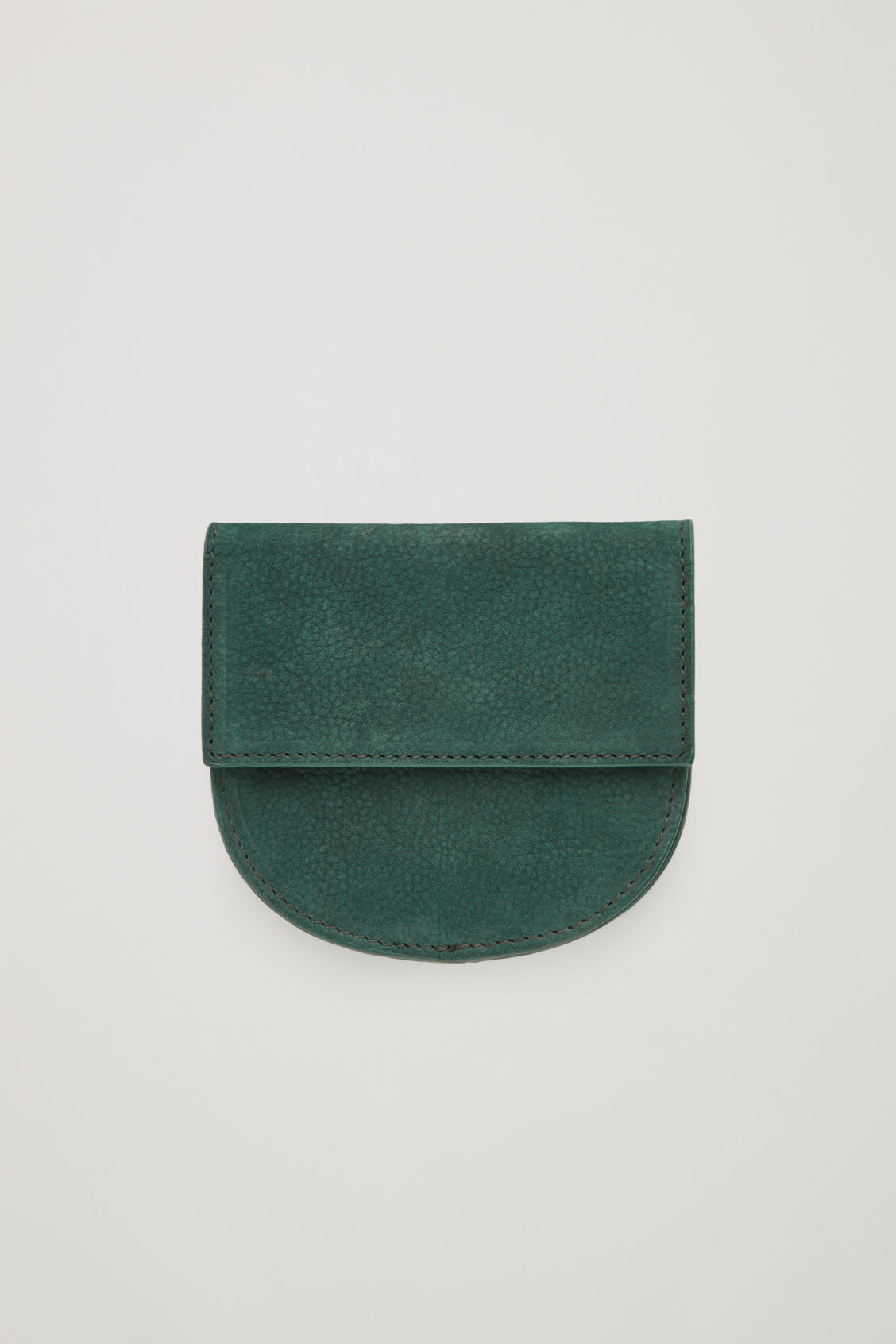Front image of Cos half-moon leather purse in green