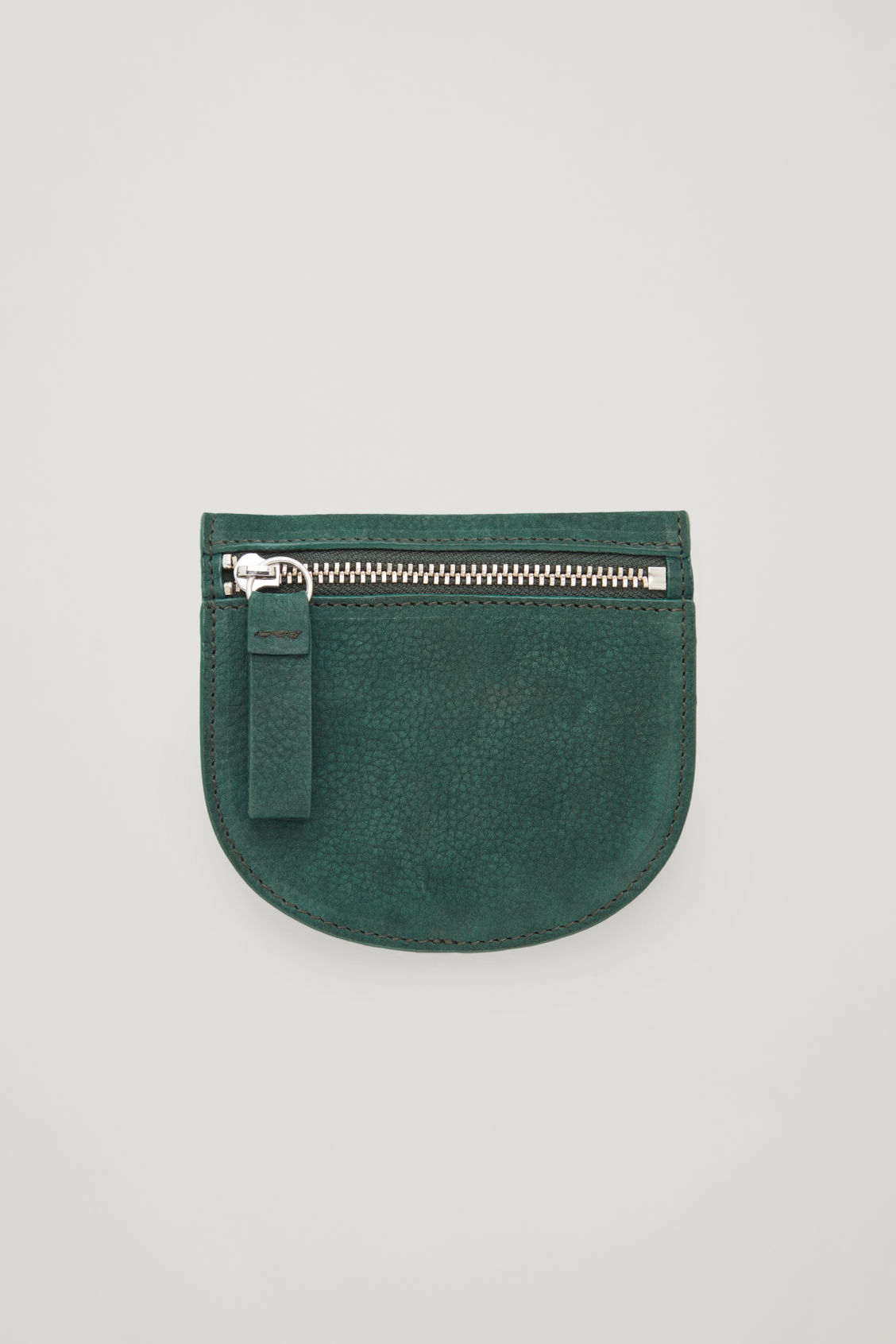 Side image of Cos half-moon leather purse in green