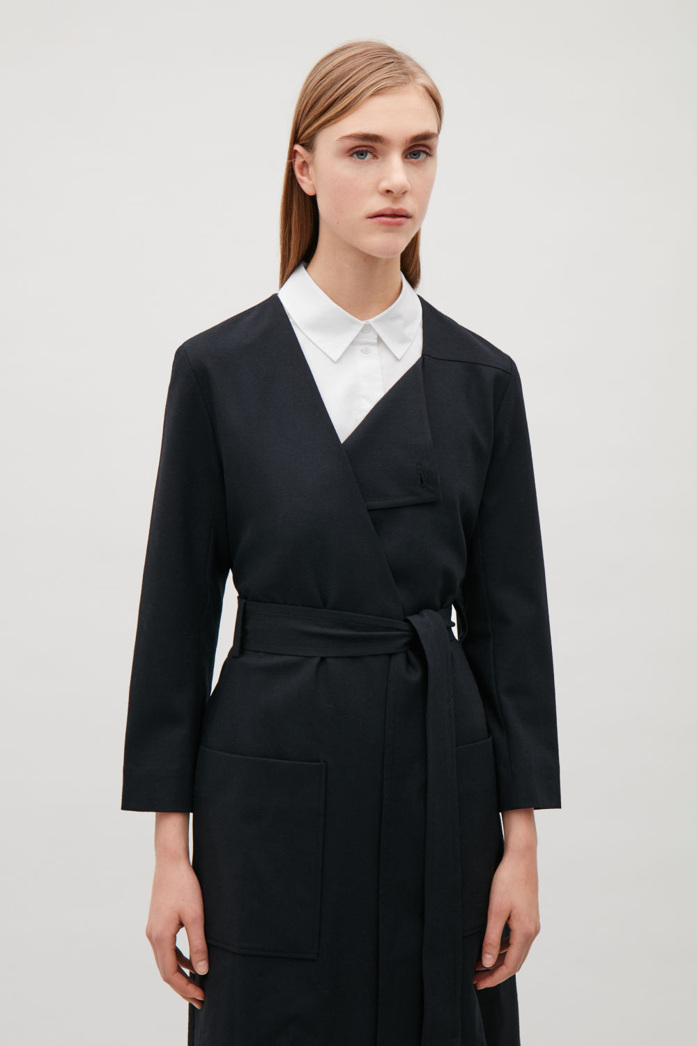 POINTED-COLLAR MOCK SHIRT
