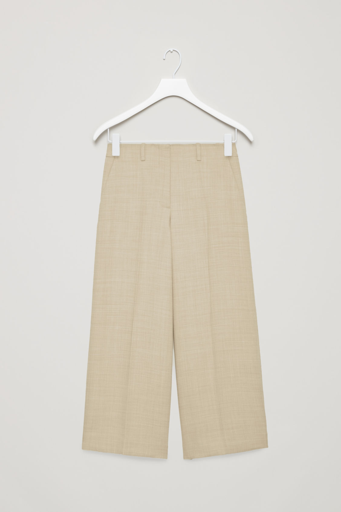 Front image of Cos tailored wool culottes in beige