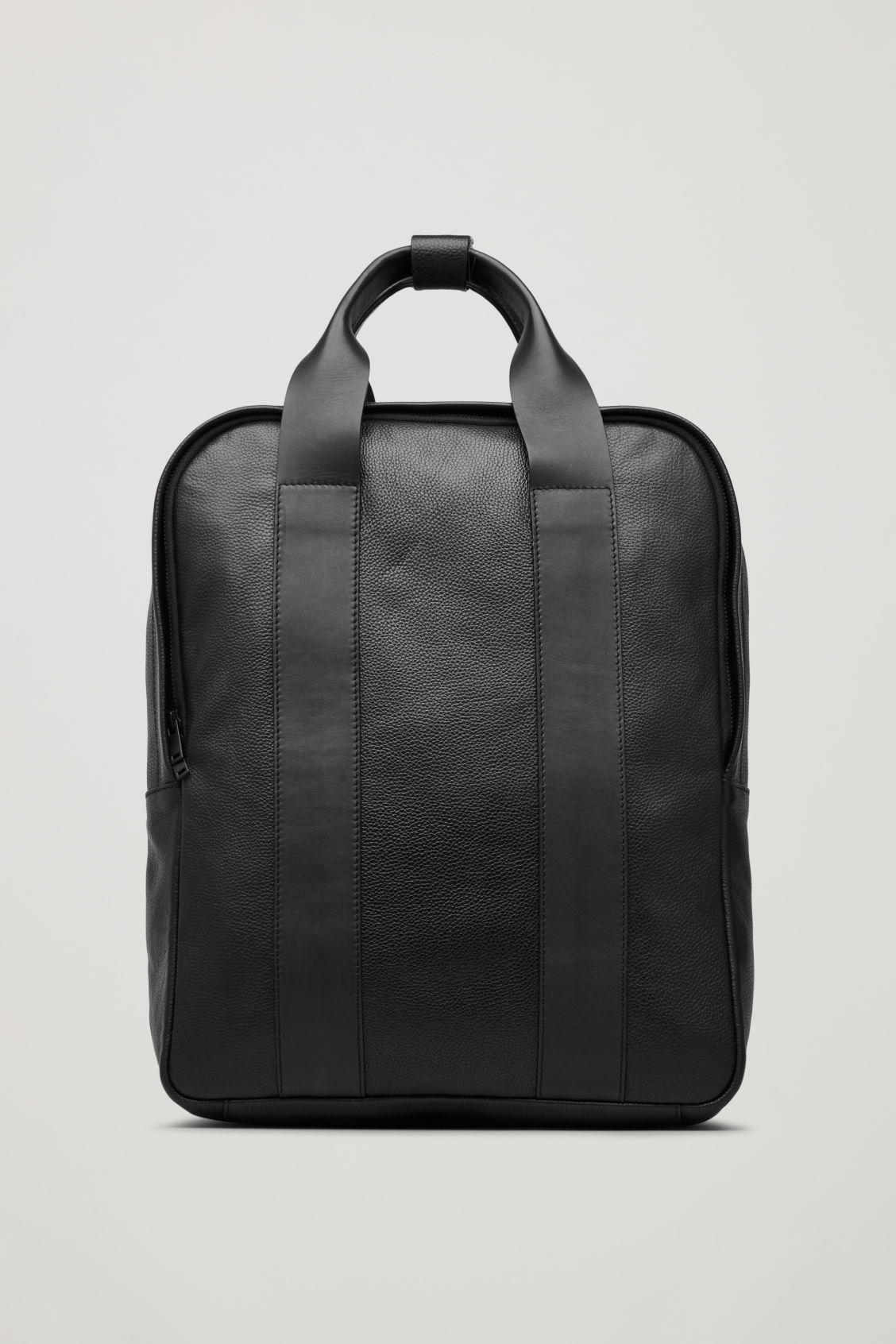 Front image of Cos grained leather backpack  in black