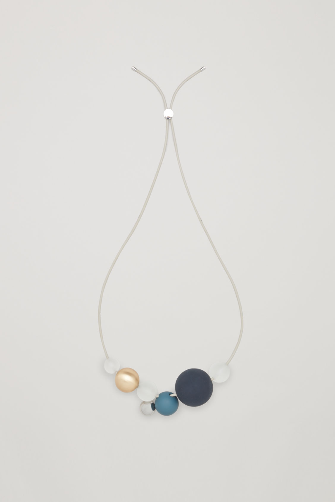 Cos LEATHER NECKLACE WITH BEADS - GREEN